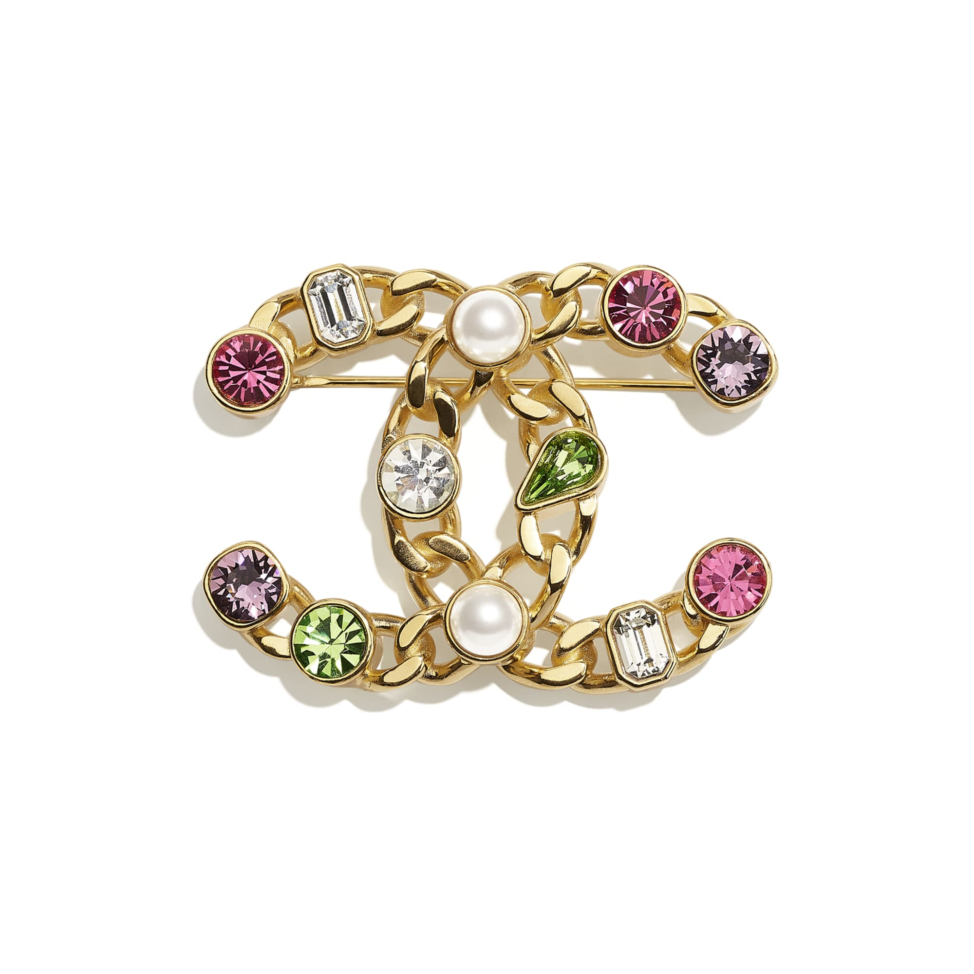 Brooch - Gold, Pearly White, Crystal, Purple & Green - Metal, Glass Pearls & Diamantés - CHANEL - Default view - see standard sized version