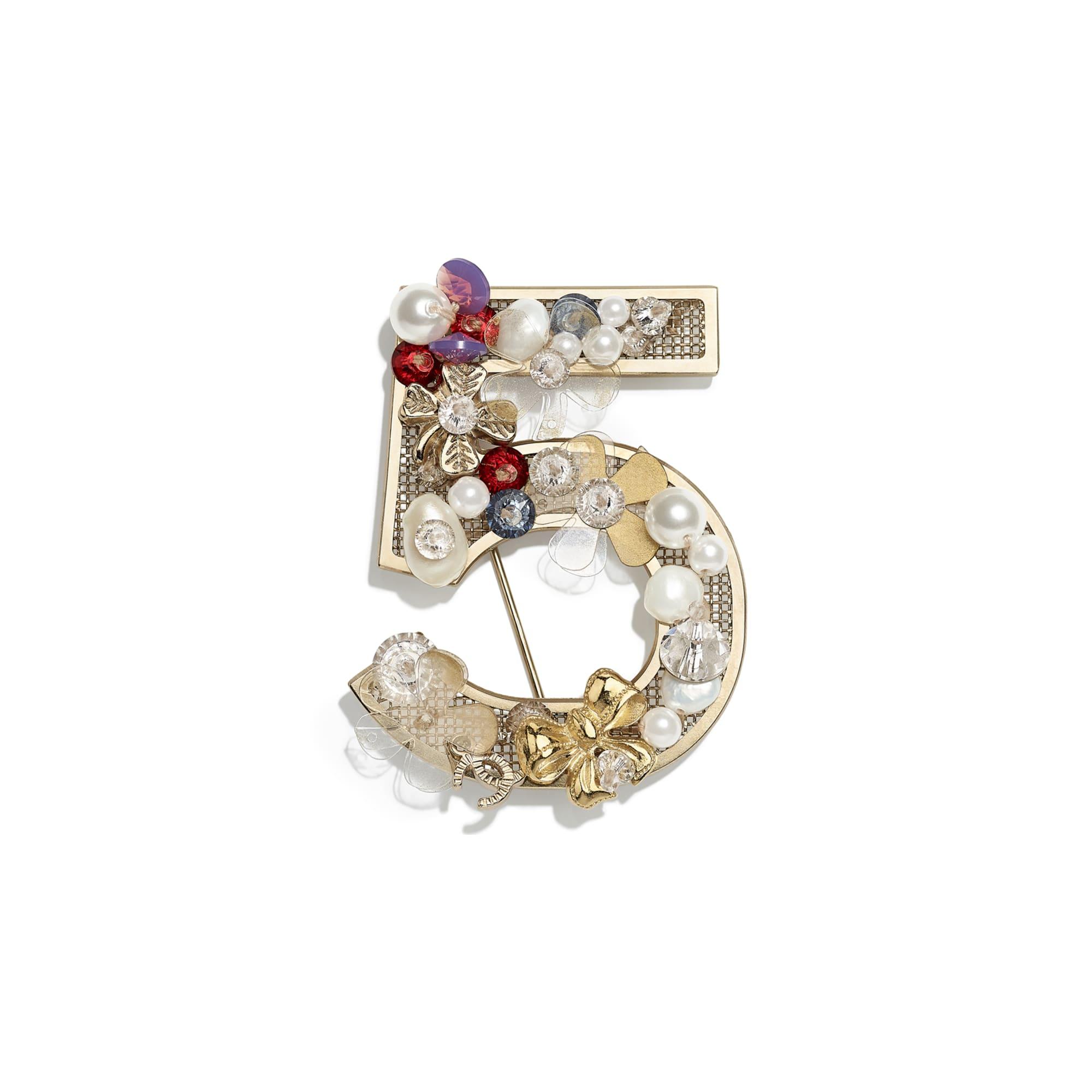 Broche - Dorado, blanco nacarado, cristal, rojo, azul y violeta - Metal, perlas cultivadas de agua dulce, perlas de cristal y resina - CHANEL - Vista por defecto - ver la versión tamaño estándar