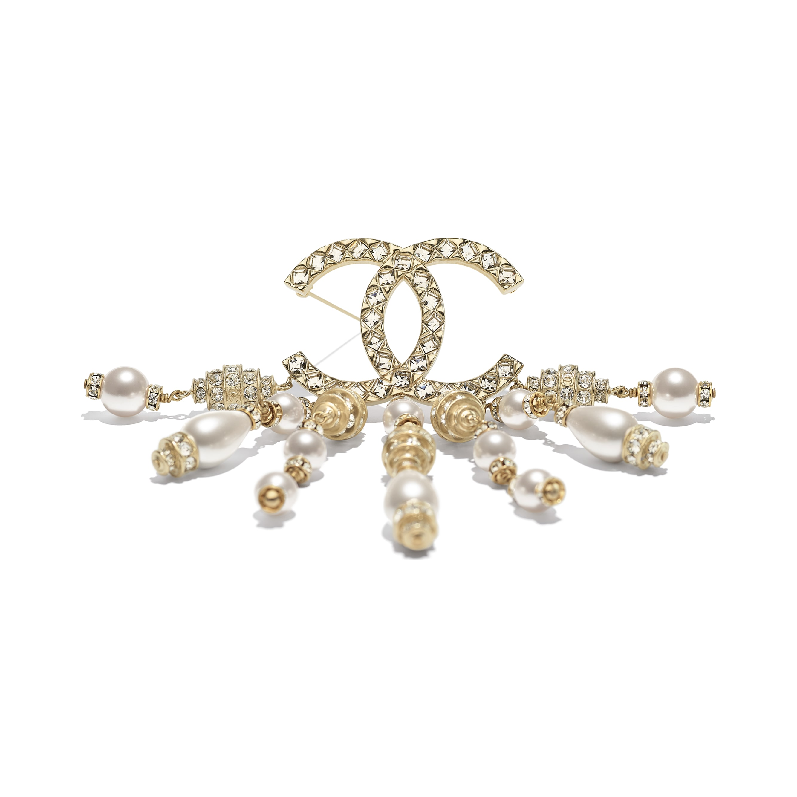 Brooch - Gold, Pearly White & Crystal - Resin, Glass Pearls, Strass & Metal - CHANEL - Alternative view - see standard sized version