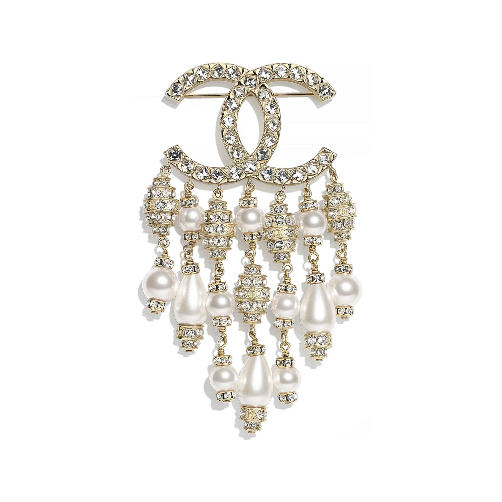 Brooch - Gold, Pearly White & Crystal - Resin, Glass Pearls, Strass & Metal - CHANEL - Default view - see standard sized version