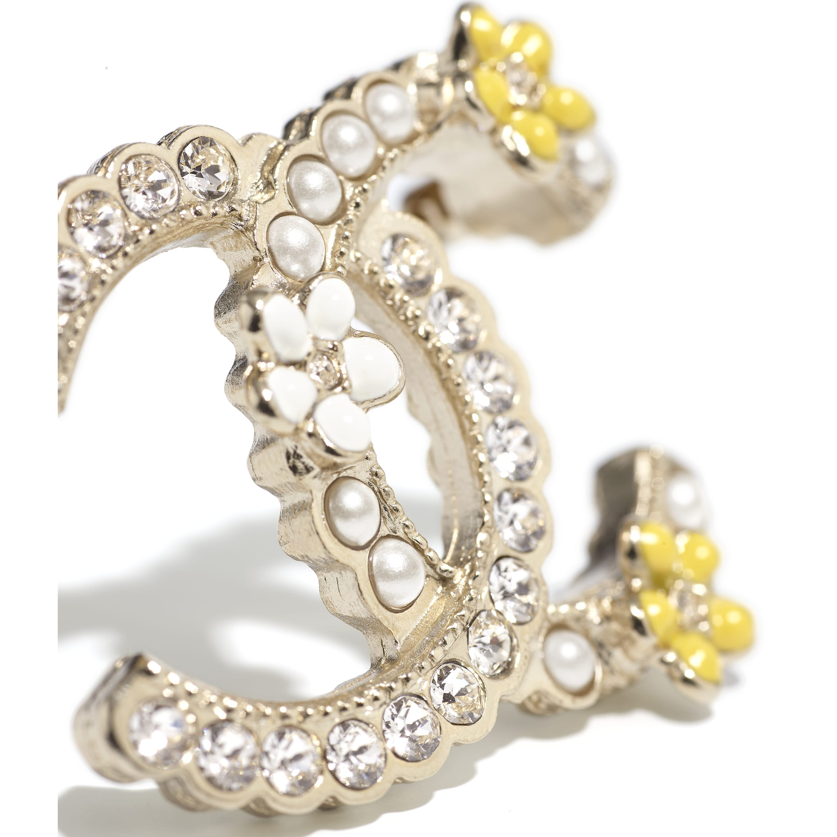 Brooch - Gold, Pearly White, Crystal & Yellow - Metal, Glass Pearls, Diamanté & Resin - CHANEL - Alternative view - see standard sized version