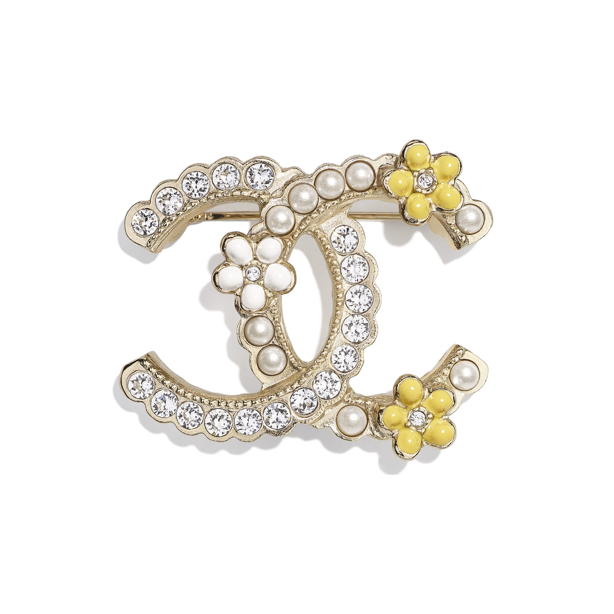 Brooch - Gold, Pearly White, Crystal & Yellow - Metal, Glass Pearls, Diamanté & Resin - CHANEL - Default view - see standard sized version