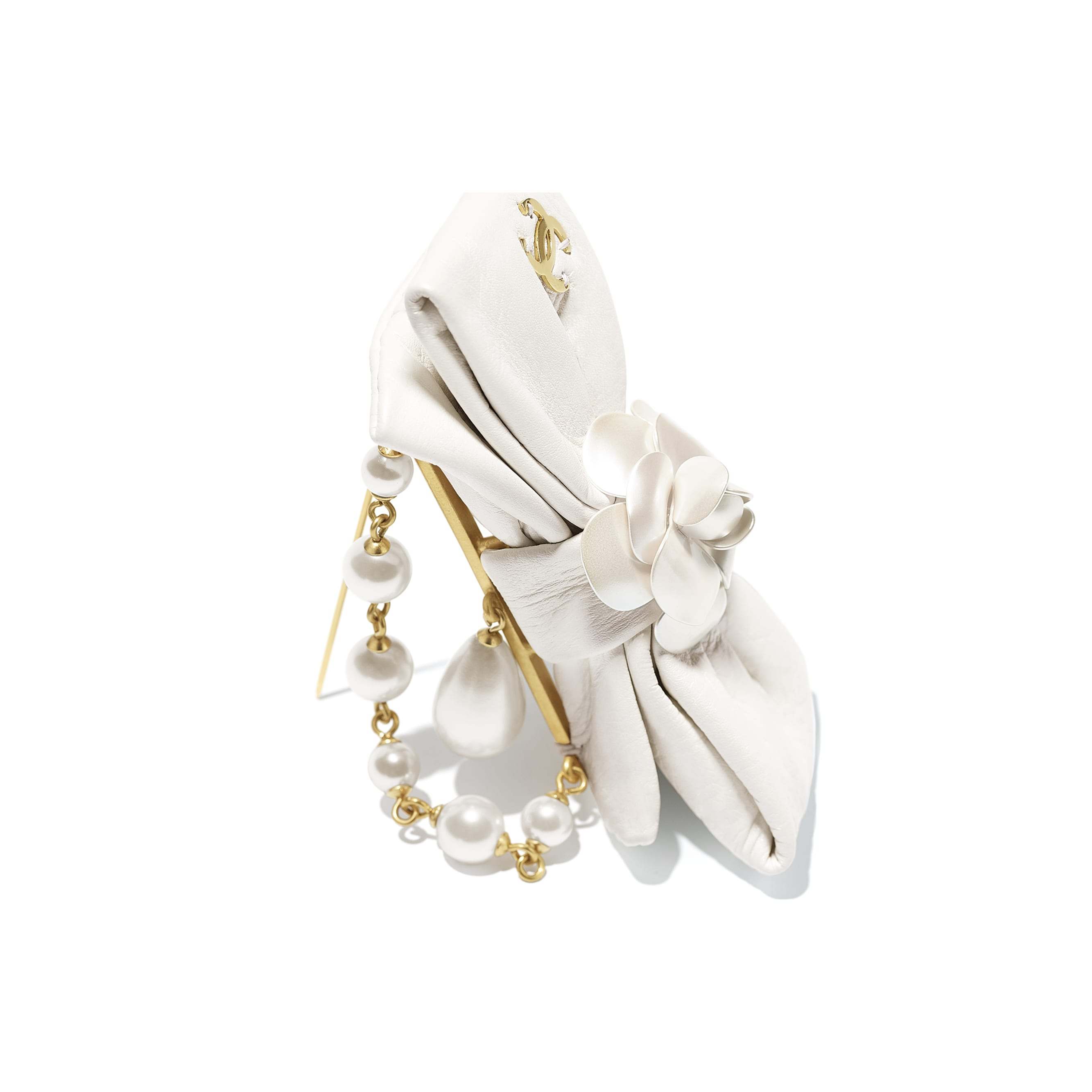 Brooch - Gold & Pearly White - Metal, Glass Pearls & Calfskin - CHANEL - Alternative view - see standard sized version