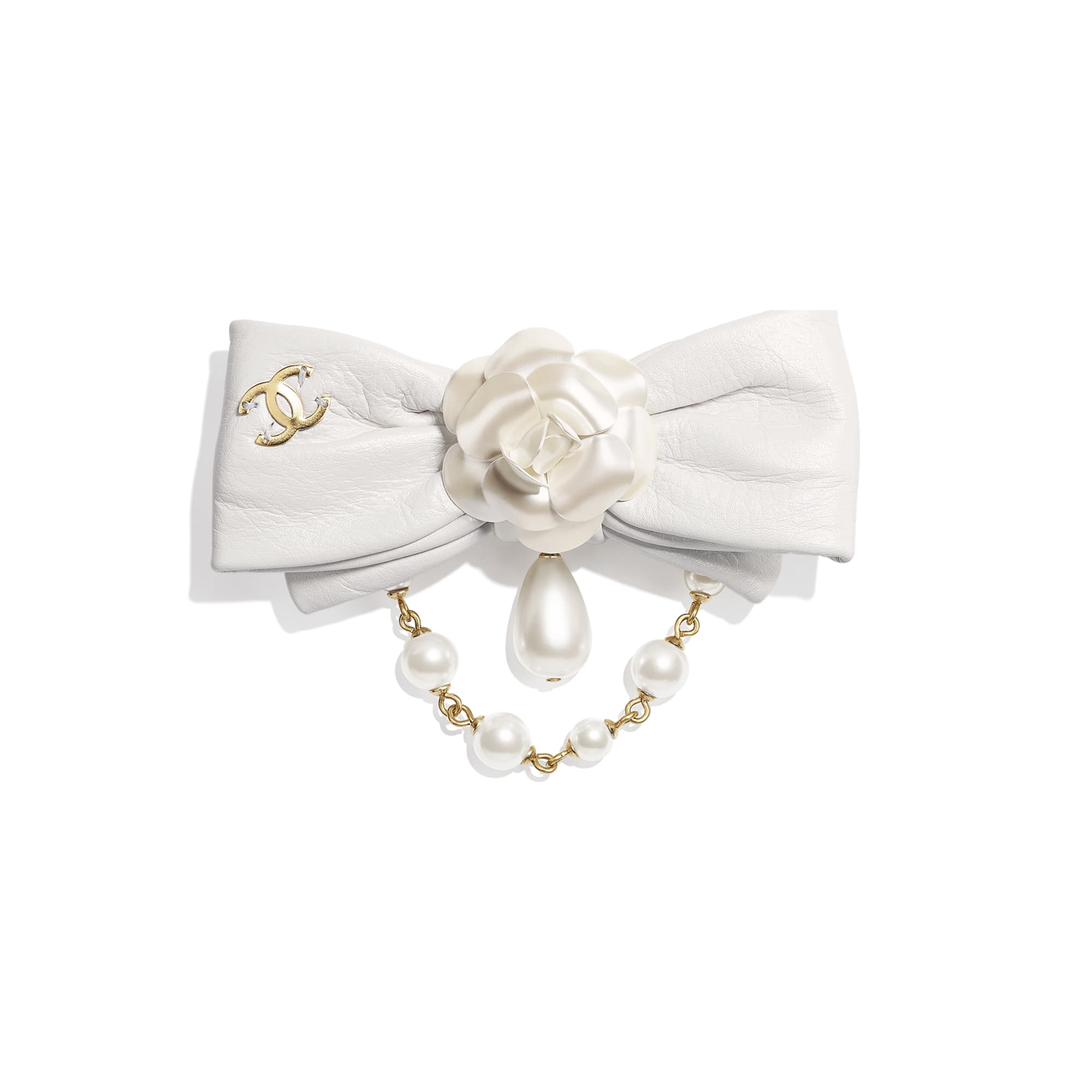 Brooch - Gold & Pearly White - Metal, Glass Pearls & Calfskin - CHANEL - Default view - see standard sized version