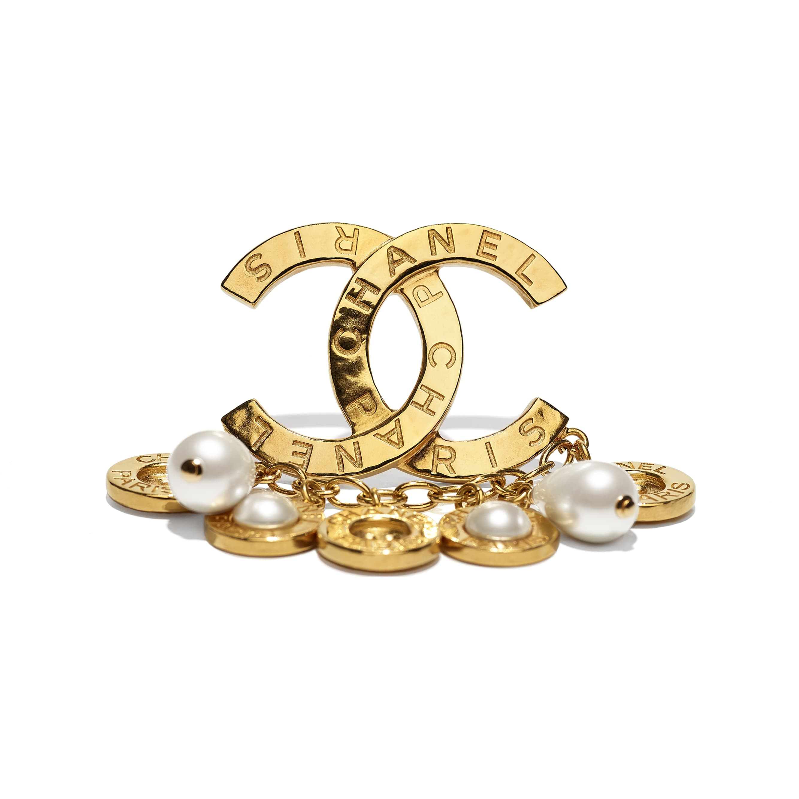 Brooch - Gold & Pearly White - Metal, Glass Pearls & Imitation Pearls - CHANEL - Alternative view - see standard sized version