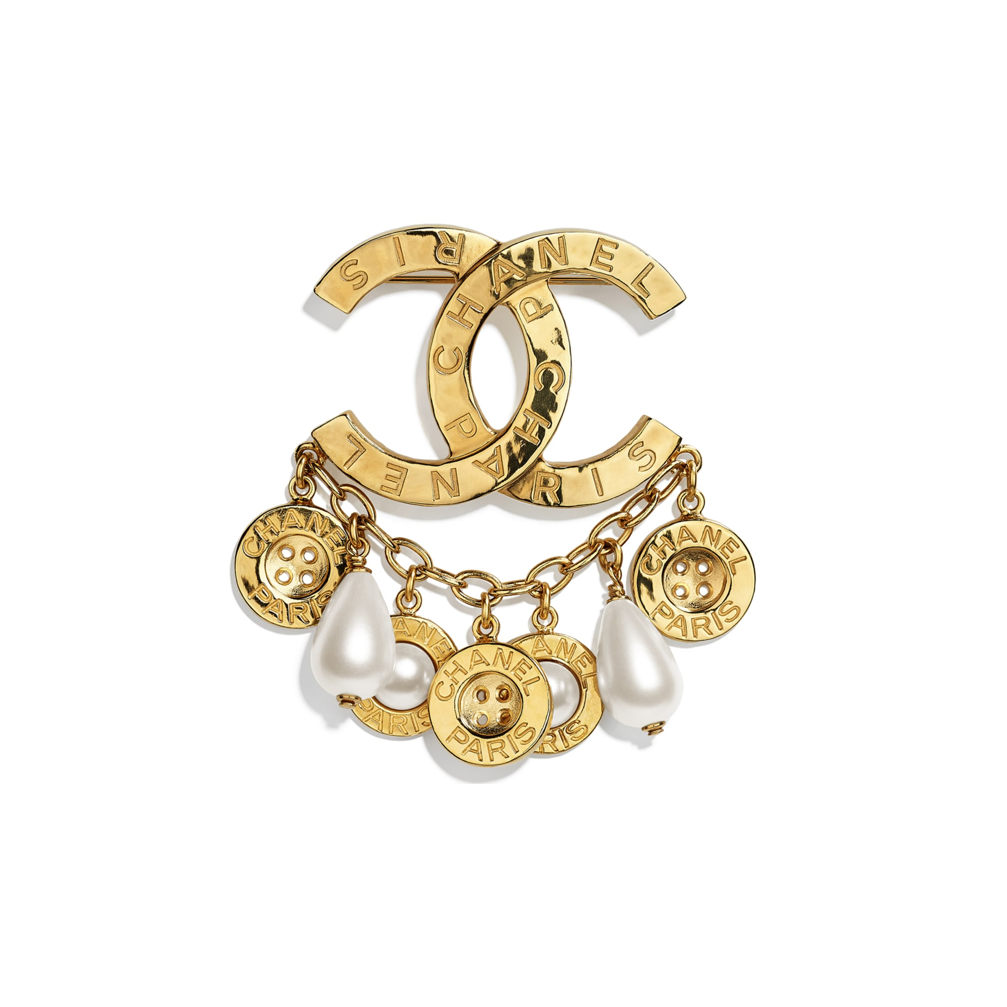 Brooch - Gold & Pearly White - Metal, Glass Pearls & Imitation Pearls - CHANEL - Default view - see standard sized version