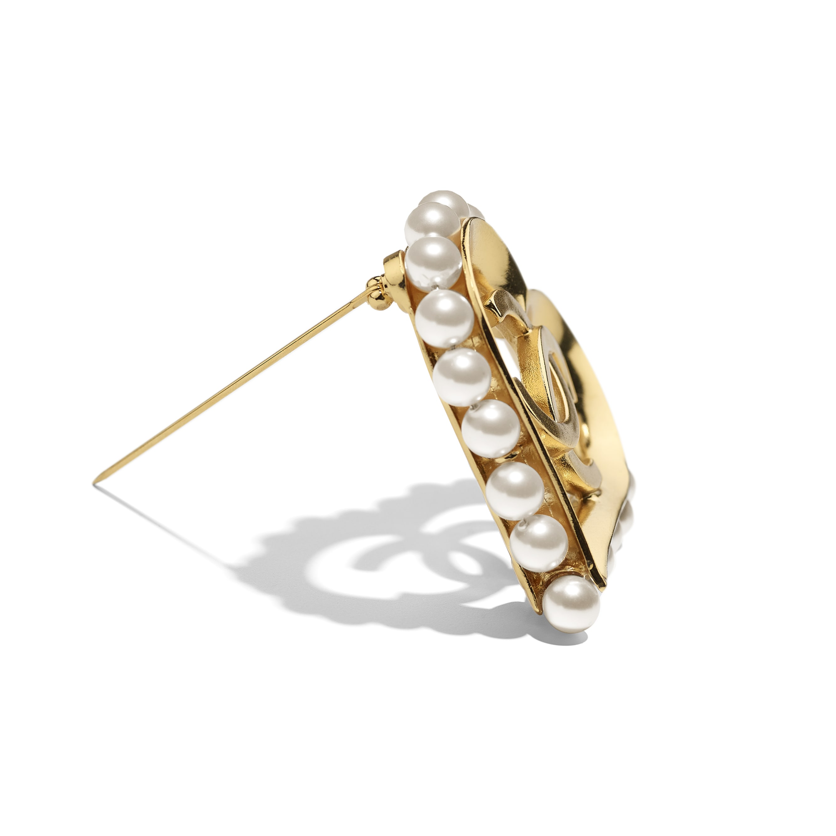 Brooch - Gold & Pearly White - Metal & Glass Pearls - Alternative view - see standard sized version
