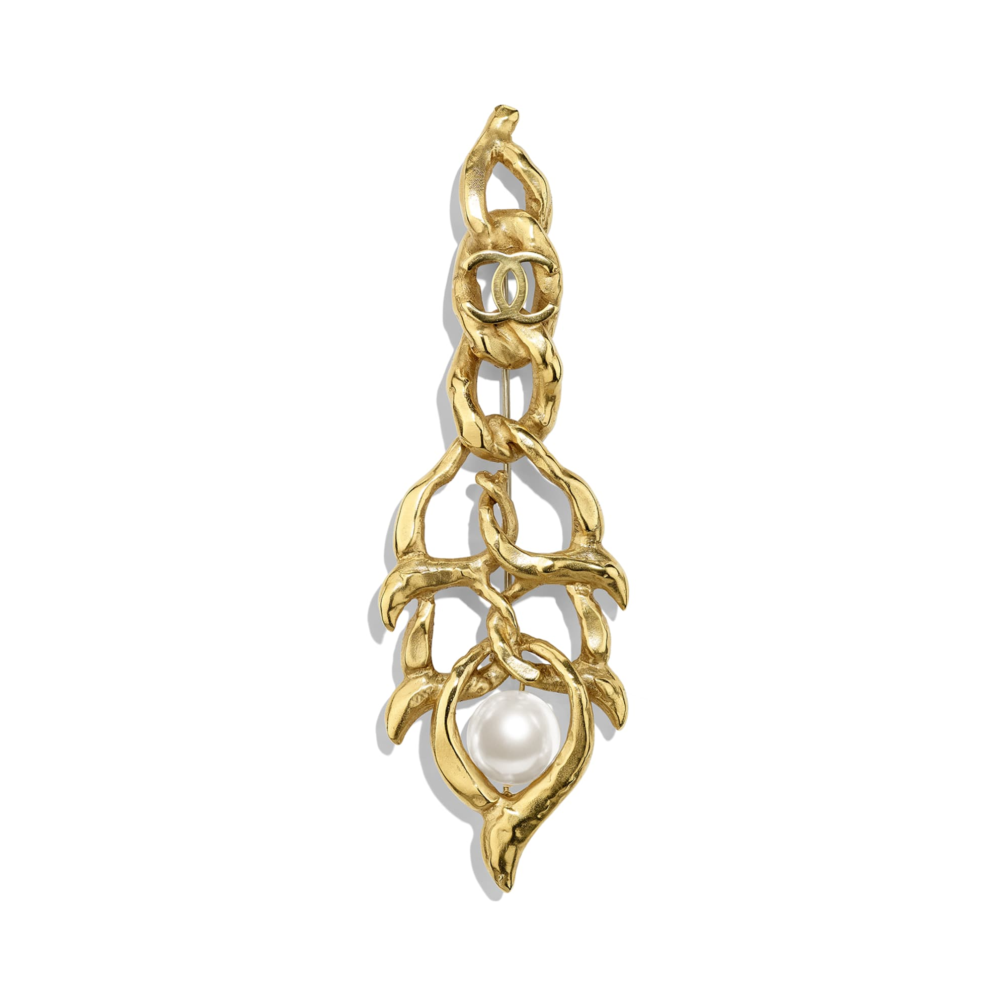 Brooch - Gold & Pearly White - Metal & Glass Pearls - Default view - see standard sized version