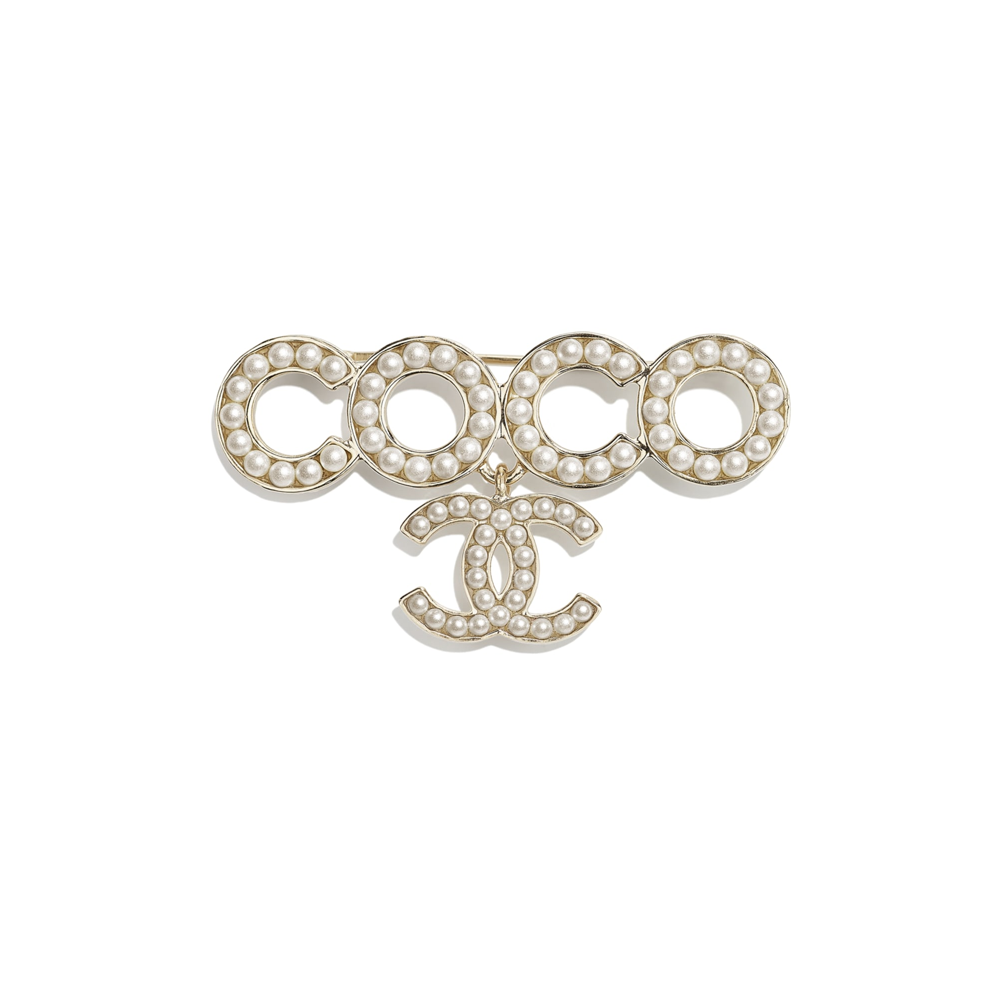 Brooch - Gold & Pearly White - Metal & Glass Pearls - CHANEL - Default view - see standard sized version