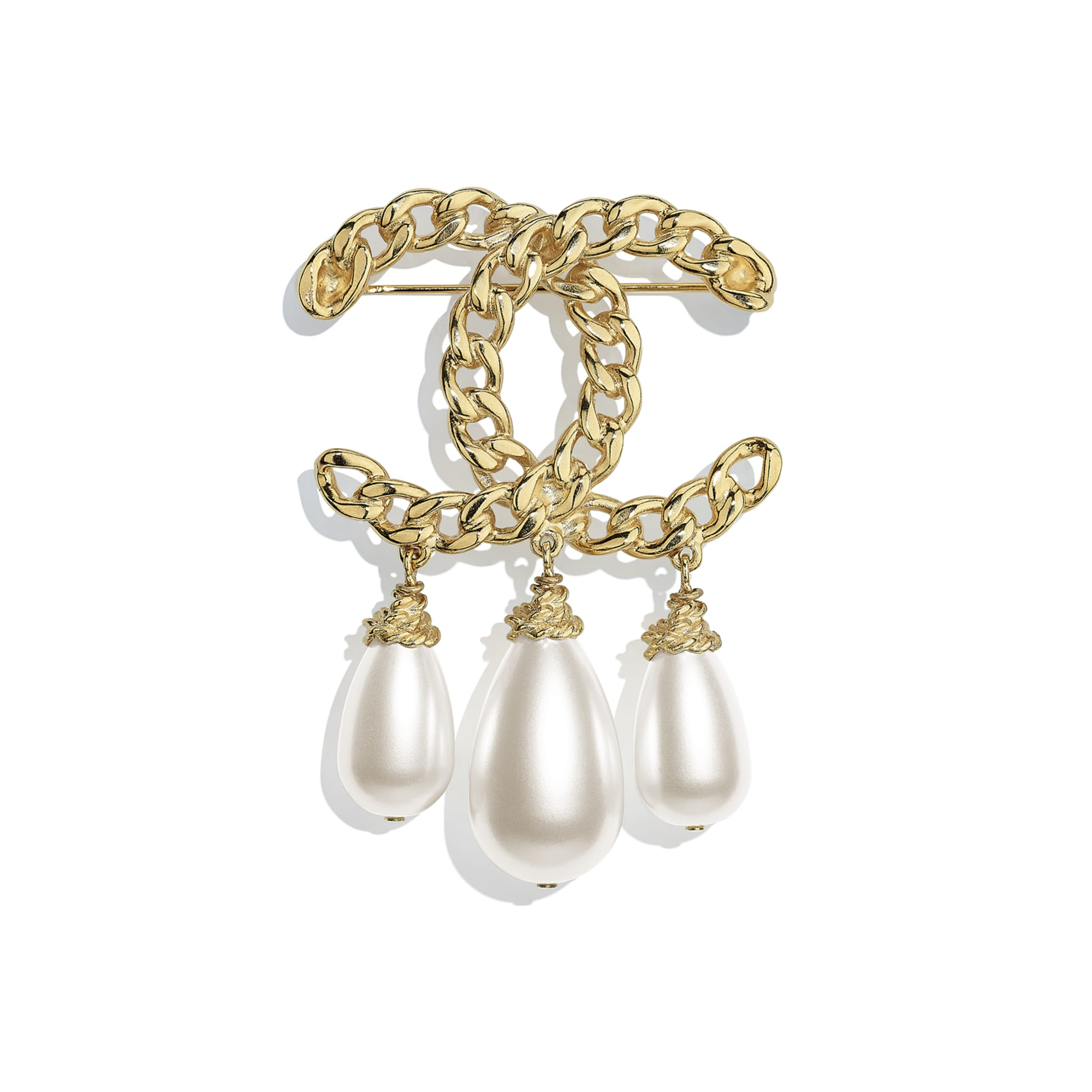 Brooch - Gold & Pearly White - Metal & Imitation Pearls - CHANEL - Default view - see standard sized version