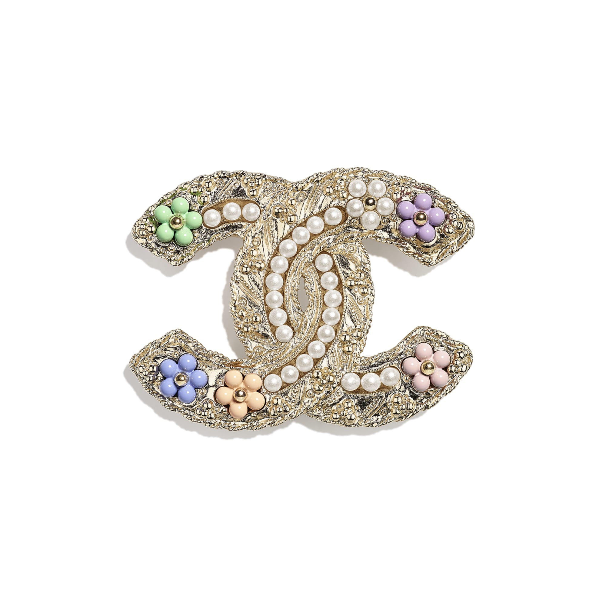 Brooch - Gold, Pearly White & Multicolour - Metal, Glass Pearls & Resin - CHANEL - Default view - see standard sized version