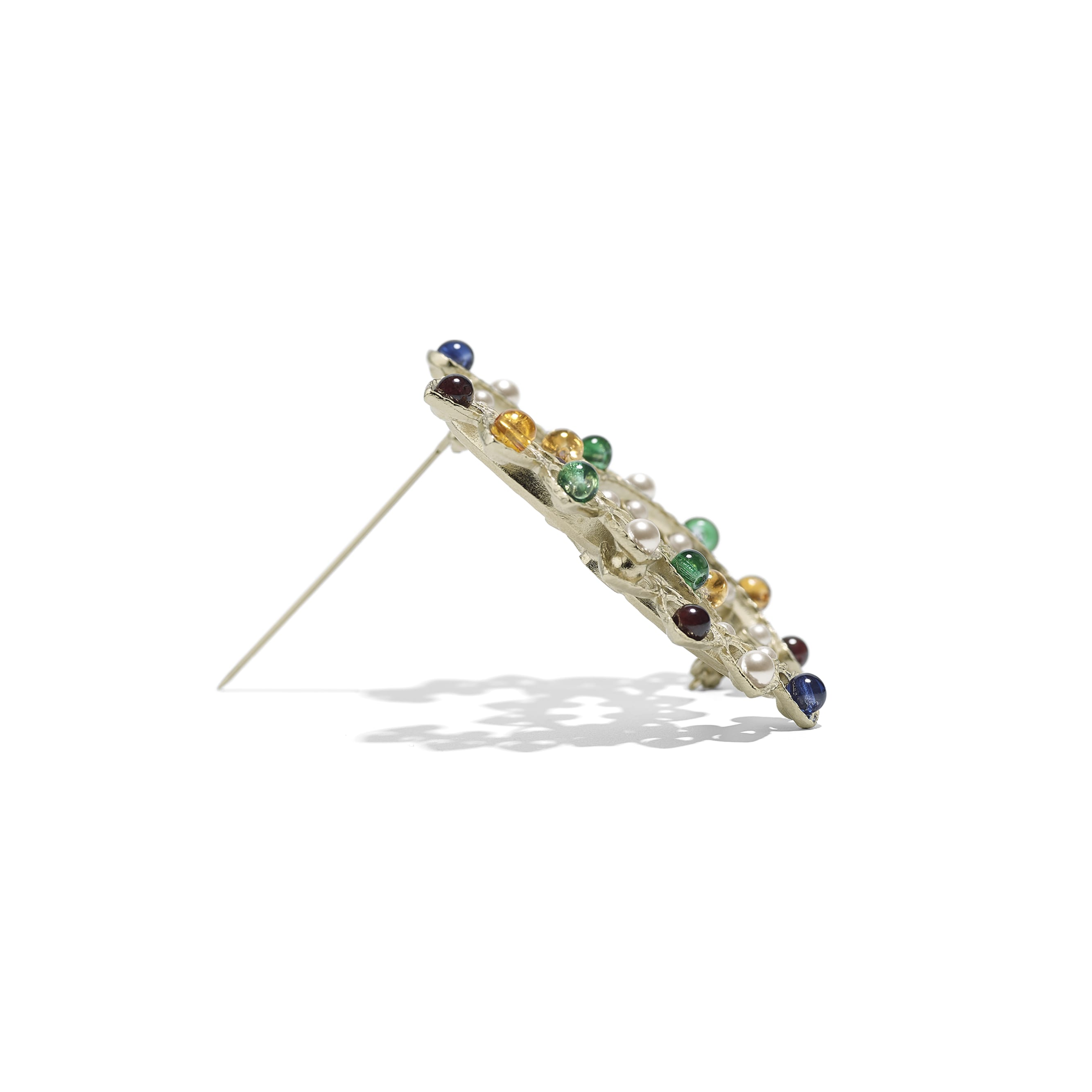 Brooch - Gold, Pearly White & Multicolor - Metal, Natural Stones & Glass Pearls - Alternative view - see standard sized version