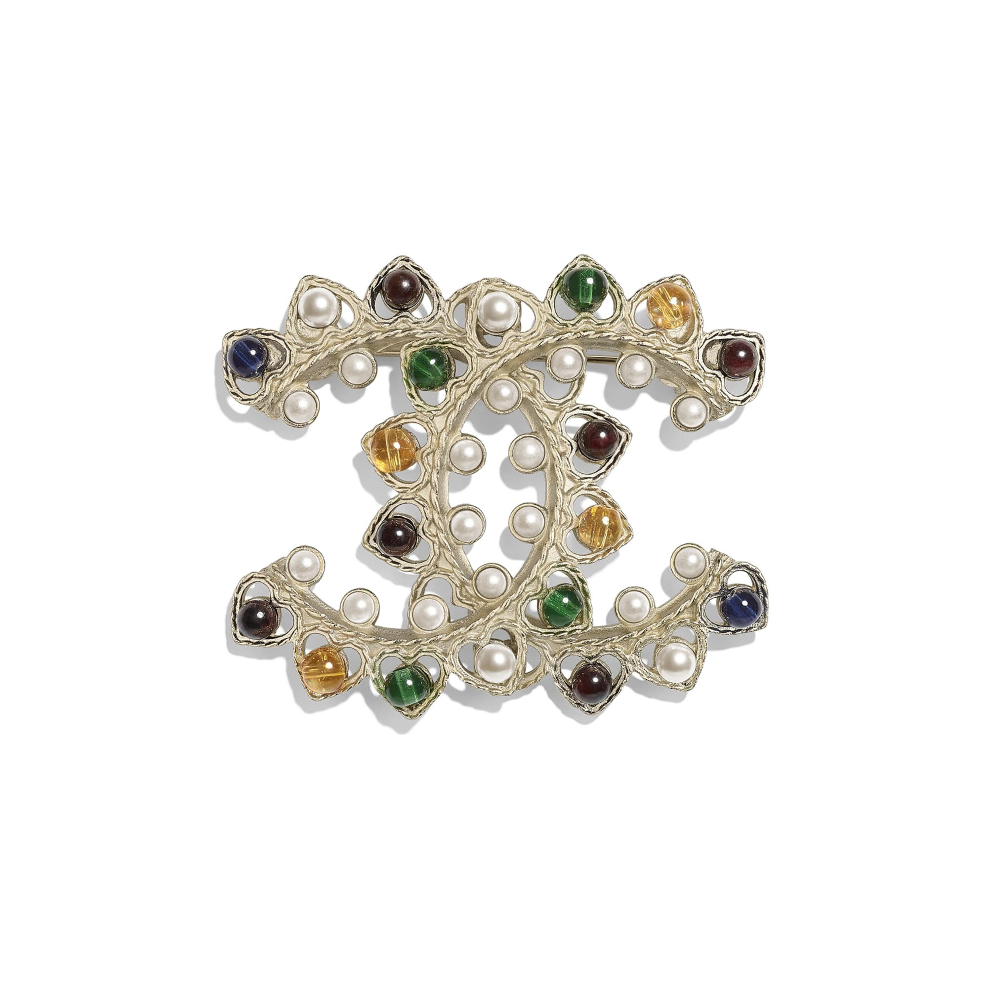 Brooch - Gold, Pearly White & Multicolor - Metal, Natural Stones & Glass Pearls - Default view - see standard sized version