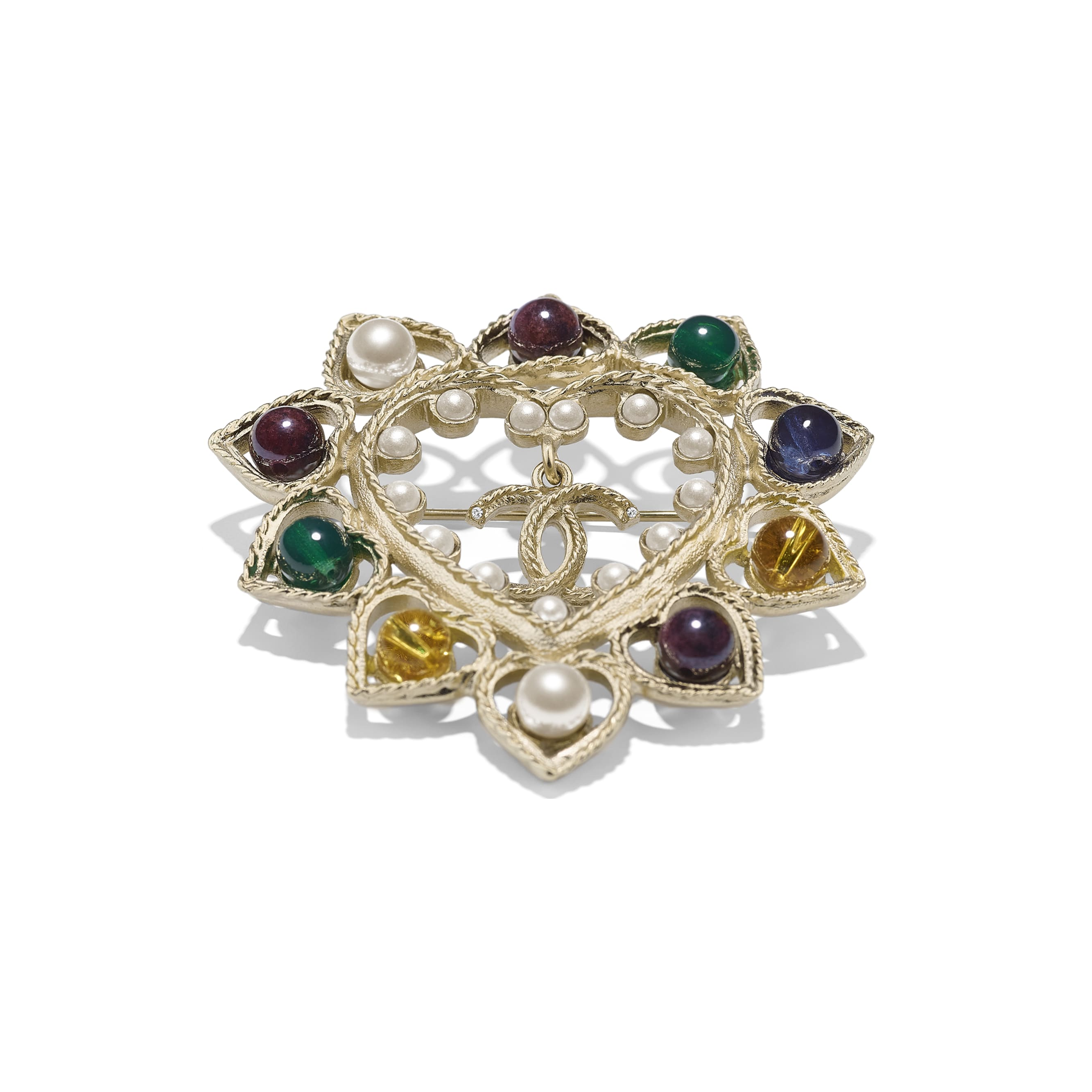 Brooch - Gold, Pearly White & Multicolor - Metal, Natural Stones, Glass Pearls & Strass - Alternative view - see standard sized version