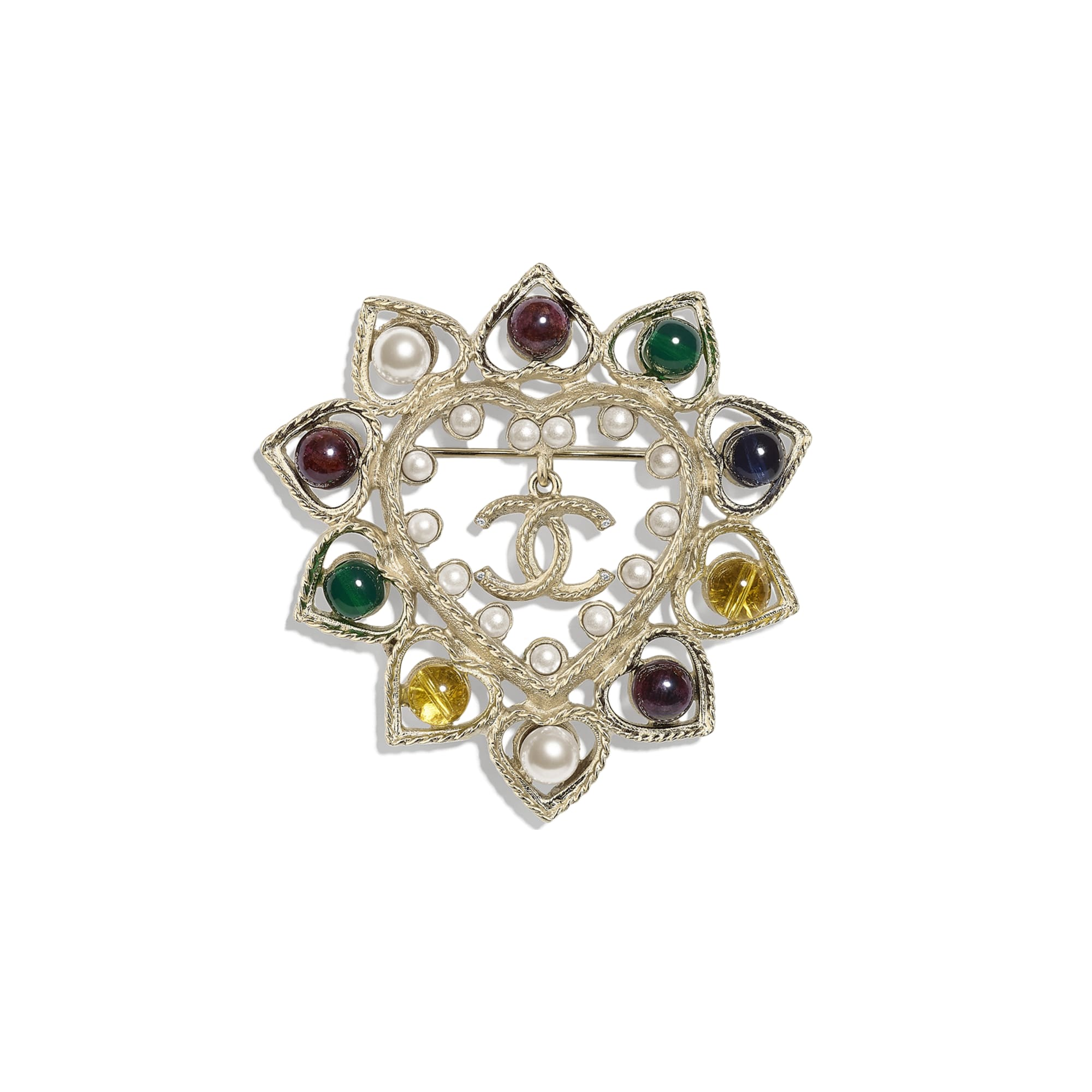 Brooch - Gold, Pearly White & Multicolor - Metal, Natural Stones, Glass Pearls & Strass - Default view - see standard sized version