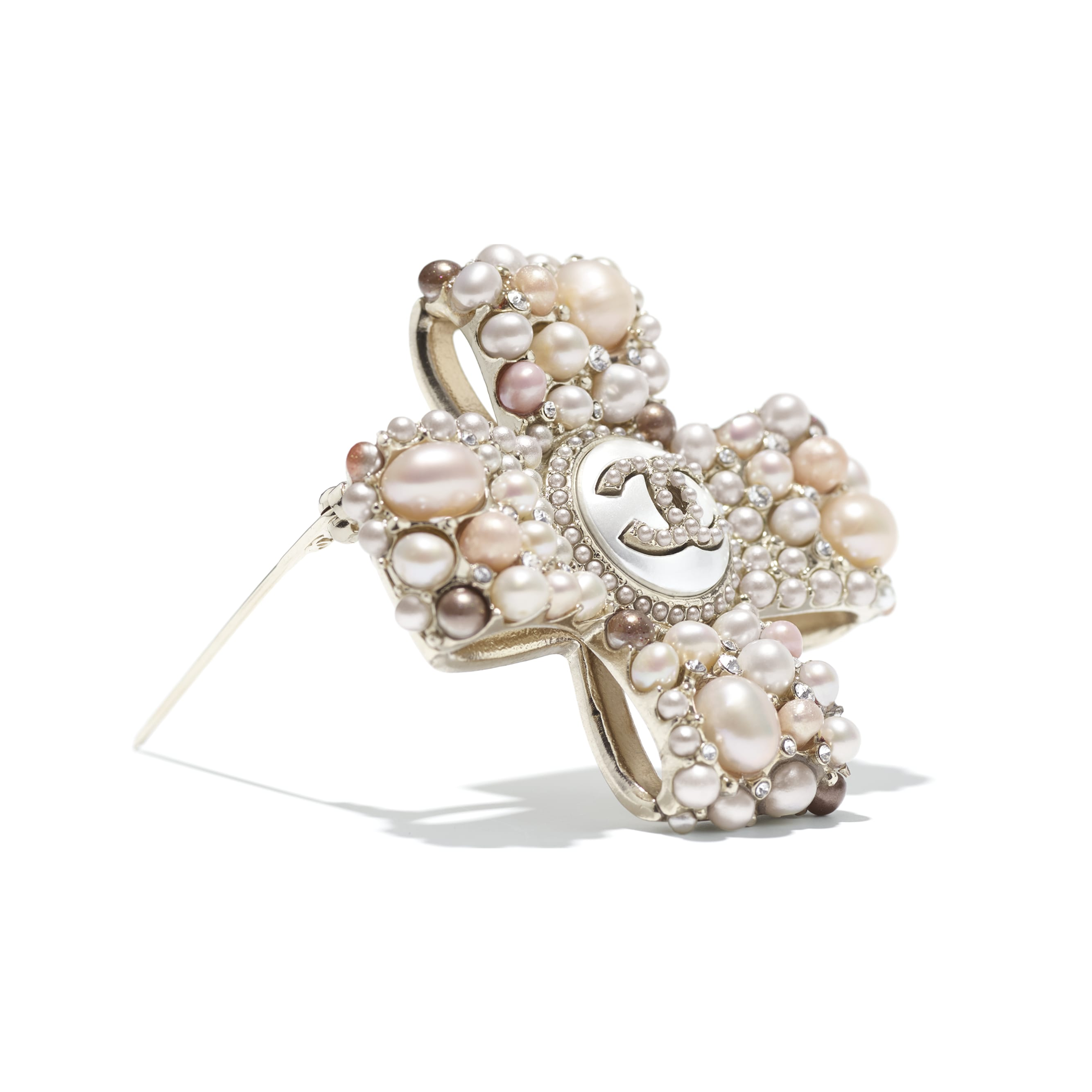 Brooch - Gold, Pearly White, Pink & Crystal - Metal, Cultured Freshwater Pearls, Glass Pearls & Strass - CHANEL - Alternative view - see standard sized version