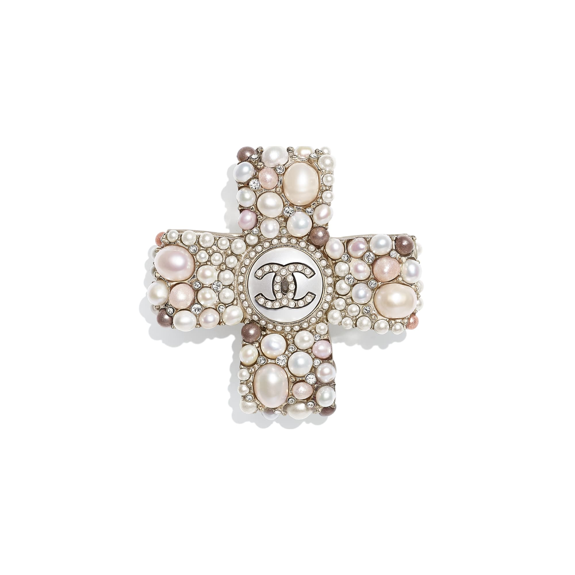 Brooch - Gold, Pearly White, Pink & Crystal - Metal, Cultured Freshwater Pearls, Glass Pearls & Strass - CHANEL - Default view - see standard sized version