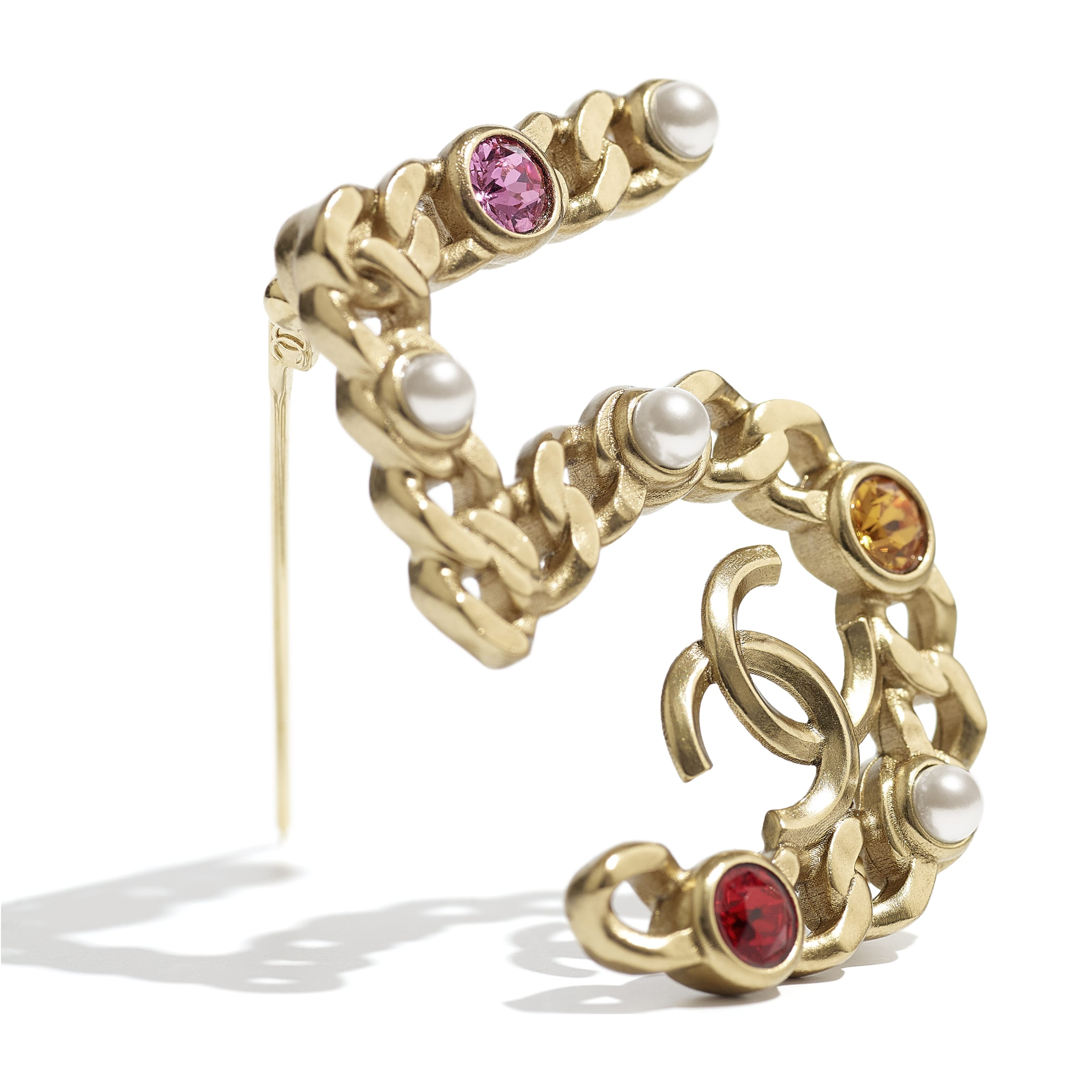 Brooch - Gold, Pearly White, Red, Pink & Yellow - Metal, Imitation Pearls & Diamanté - CHANEL - Alternative view - see standard sized version