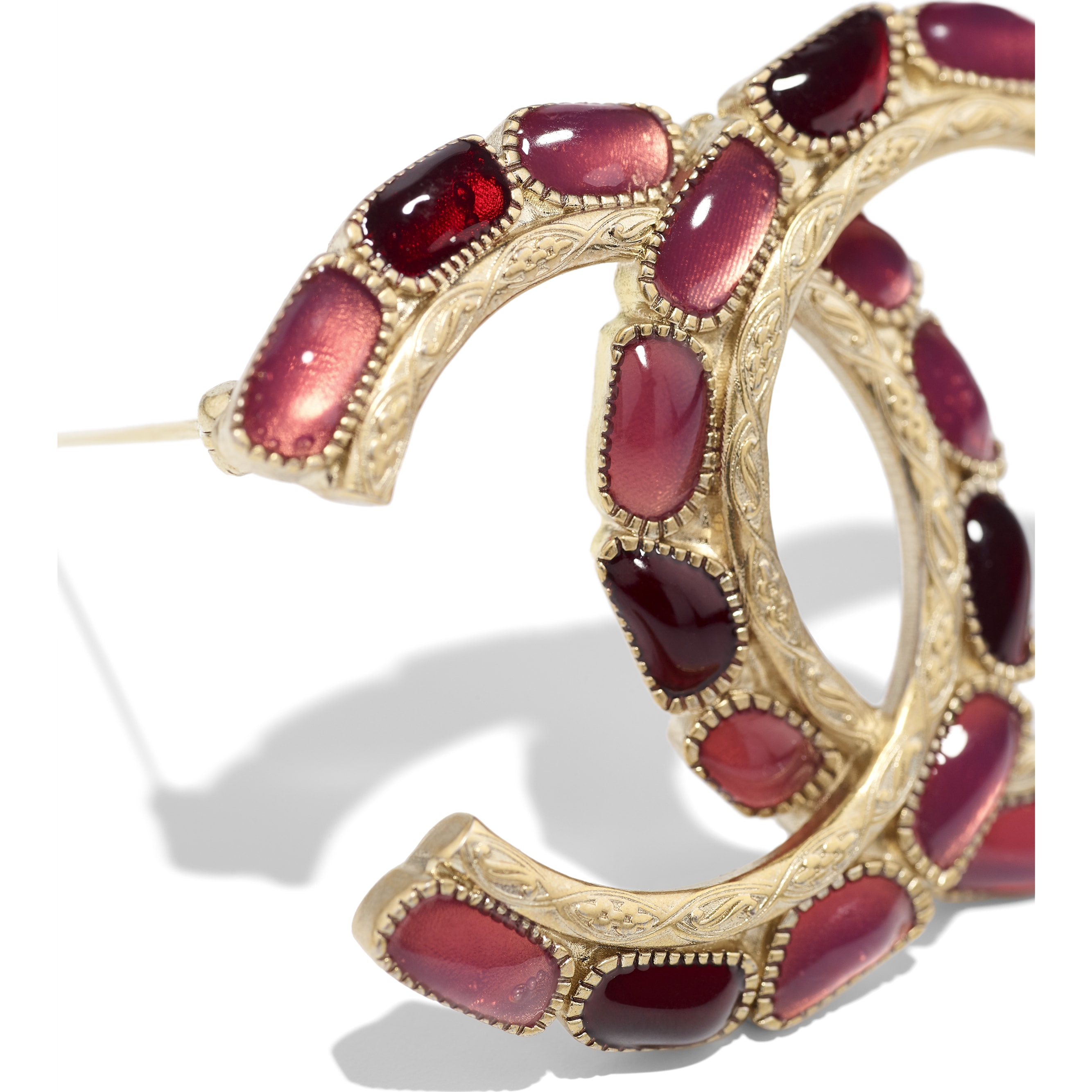 Brooch - Gold, Red & Pink - Metal & Resin - CHANEL - Alternative view - see standard sized version