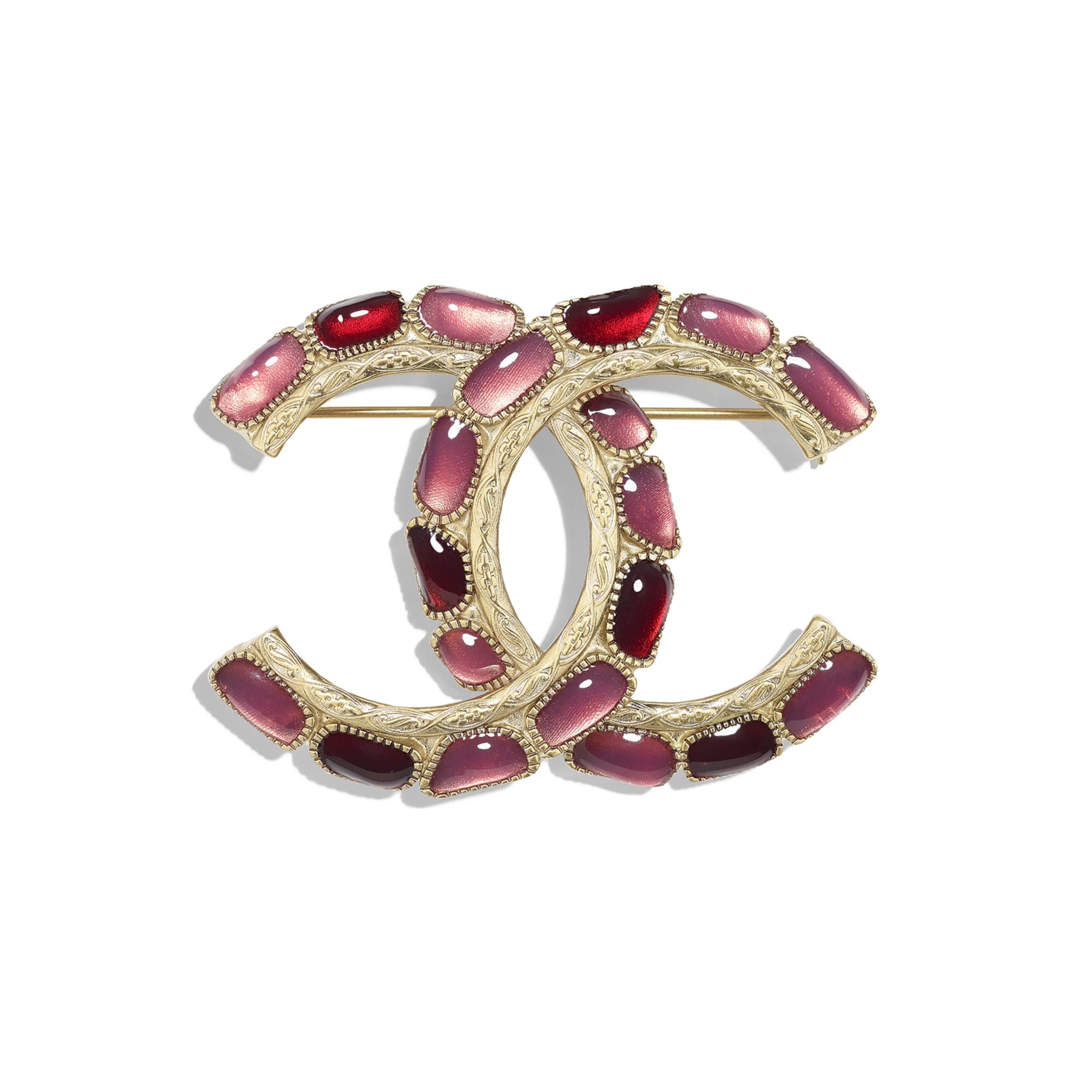 Brooch - Gold, Red & Pink - Metal & Resin - CHANEL - Default view - see standard sized version
