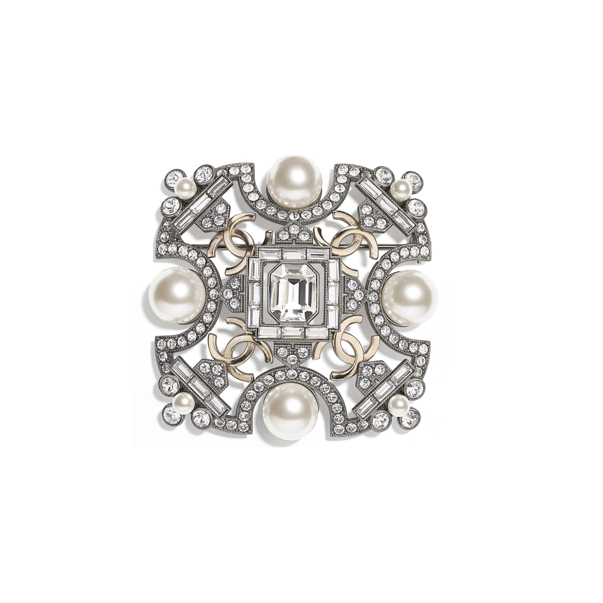 Brooch - Ruthenium, Gold, Pearly White & Crystal - Metal, Glass Pearls & Strass - CHANEL - Default view - see standard sized version