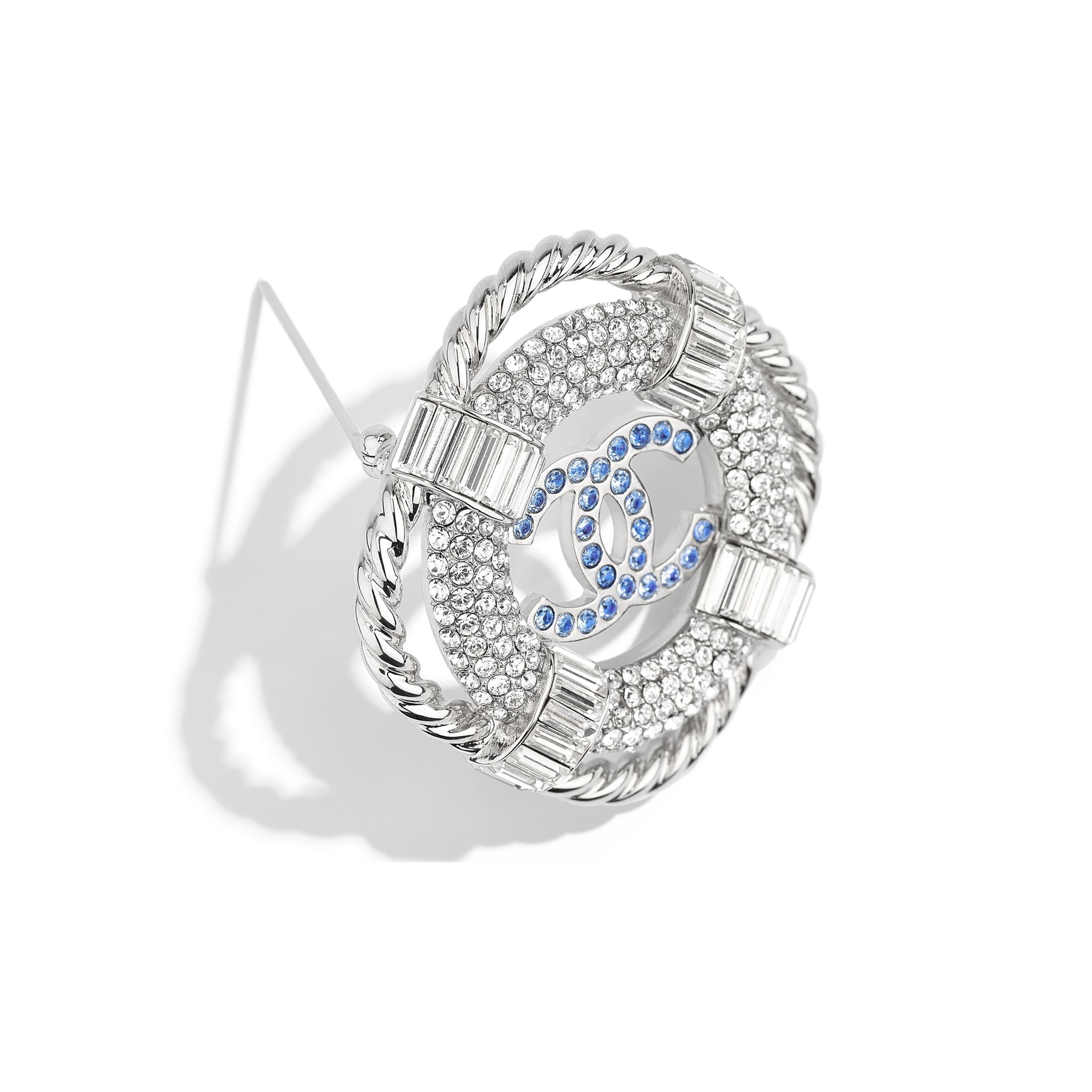 Brooch - Silver, Crystal & Blue - Metal & Strass - Alternative view - see standard sized version
