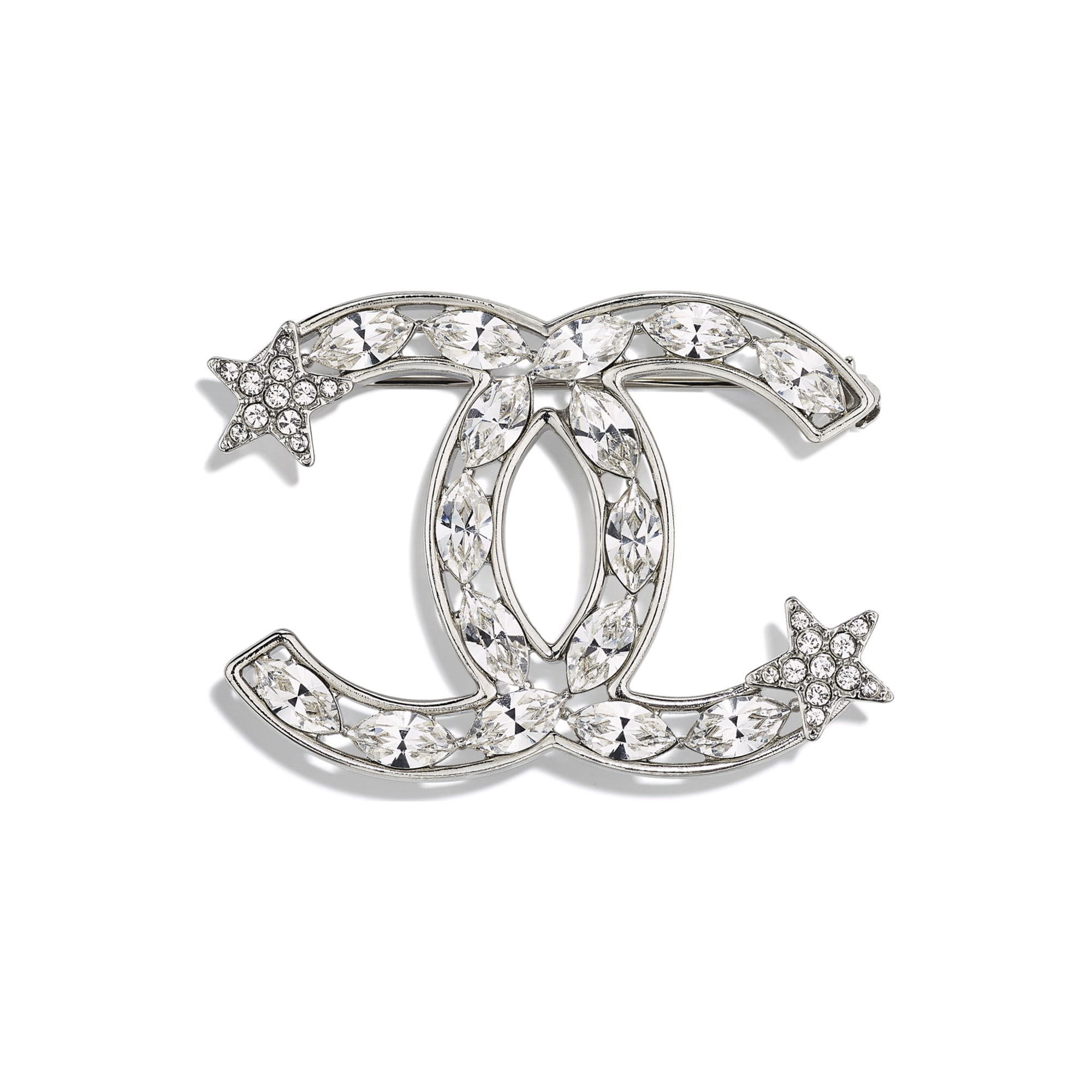 Brooch - Silver & Crystal - Metal & Diamantés - Default view - see standard sized version