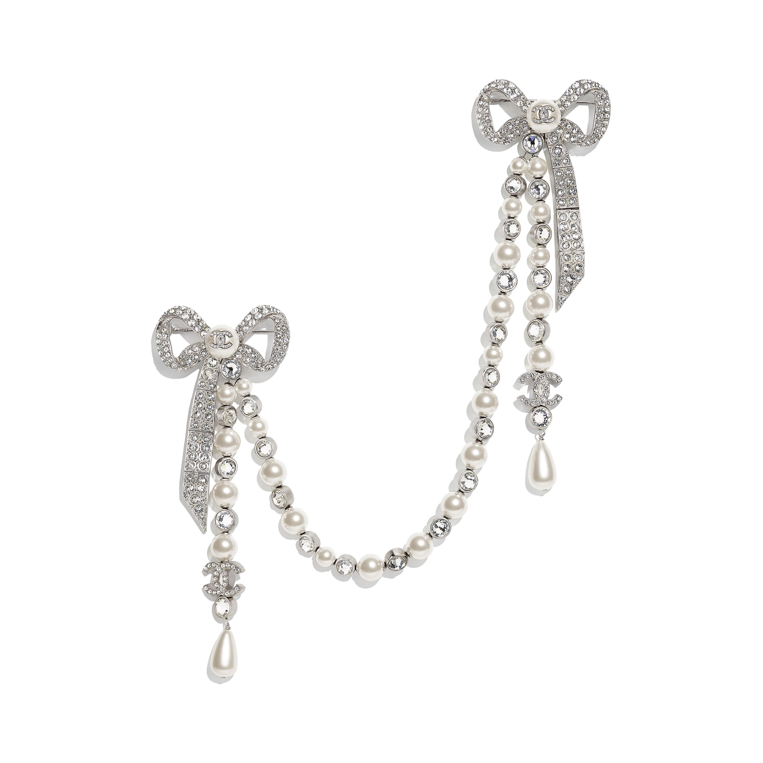 Brooch - Silver, Pearly White & Crystal - Metal, Glass Pearls, Imitation Pearls & Diamanté - CHANEL - Default view - see standard sized version