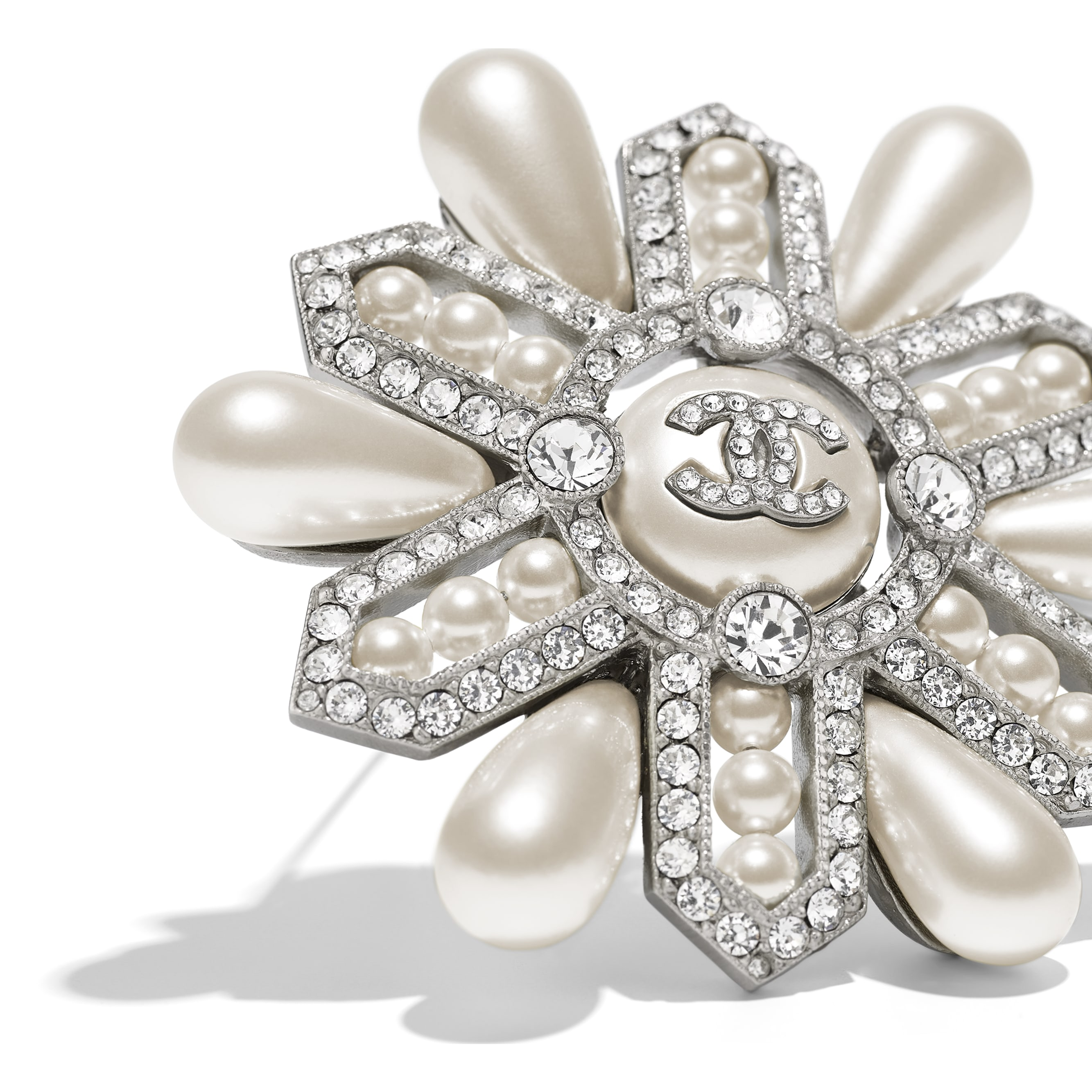 Brooch - Silver, Pearly White & Crystal - Metal, Glass Pearls & Diamantés - Alternative view - see standard sized version