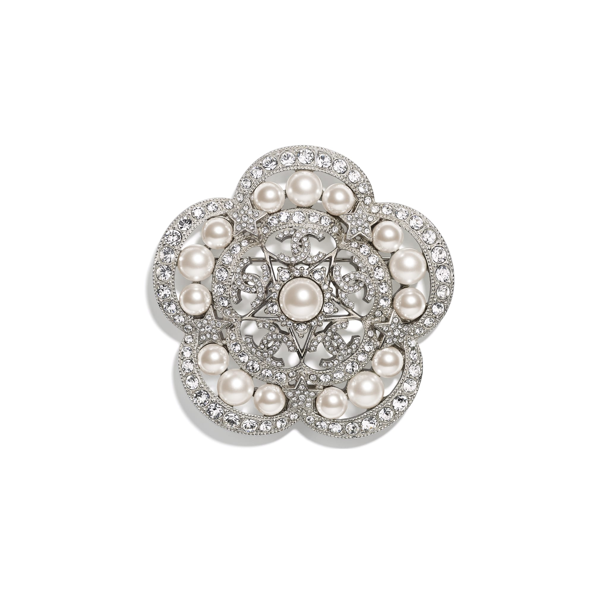 Brooch - Silver, Pearly White & Crystal - Metal, Glass Pearls & Strass - CHANEL - Default view - see standard sized version
