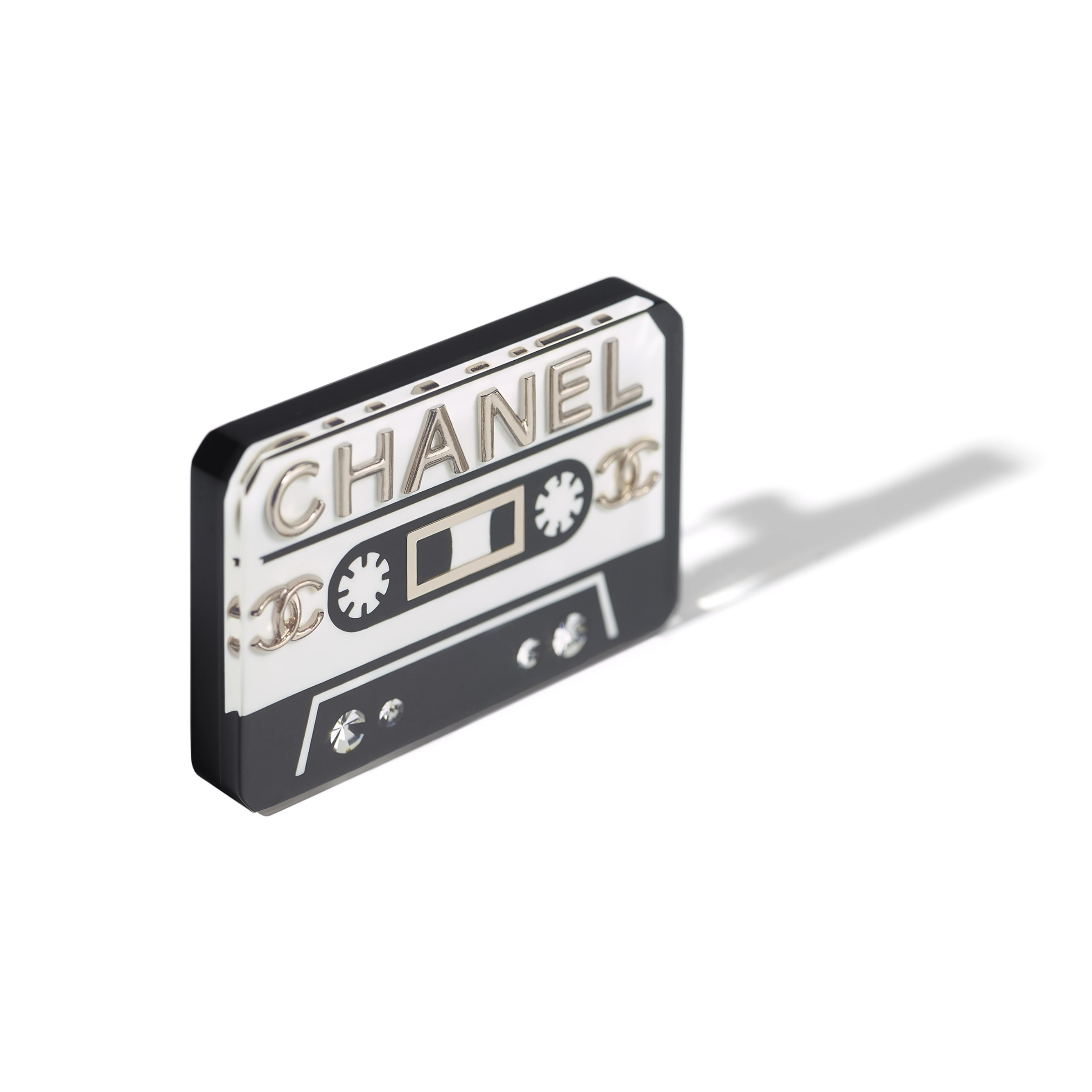 Brooch - White, Black, Crystal & Gold - Resin, Strass & Metal - CHANEL - Alternative view - see standard sized version