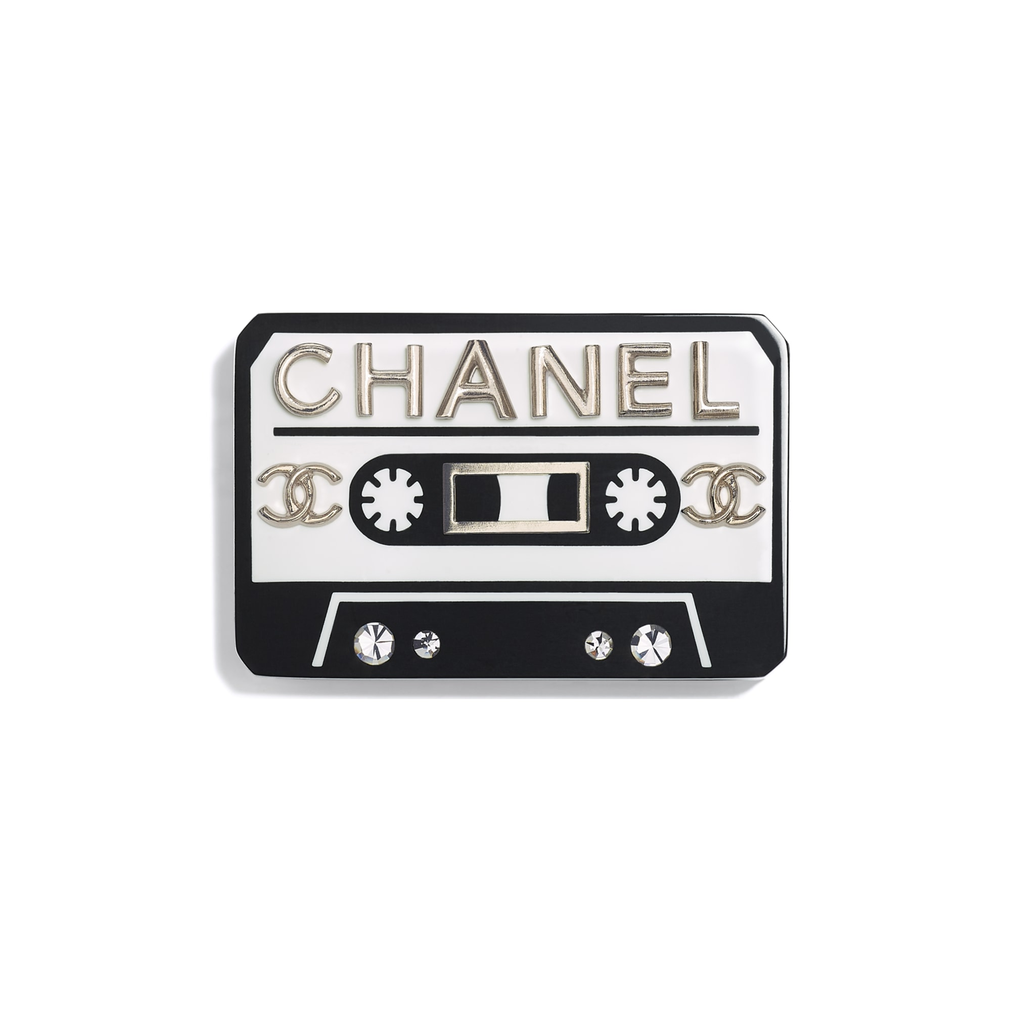 Brooch - White, Black, Crystal & Gold - Resin, Strass & Metal - CHANEL - Default view - see standard sized version