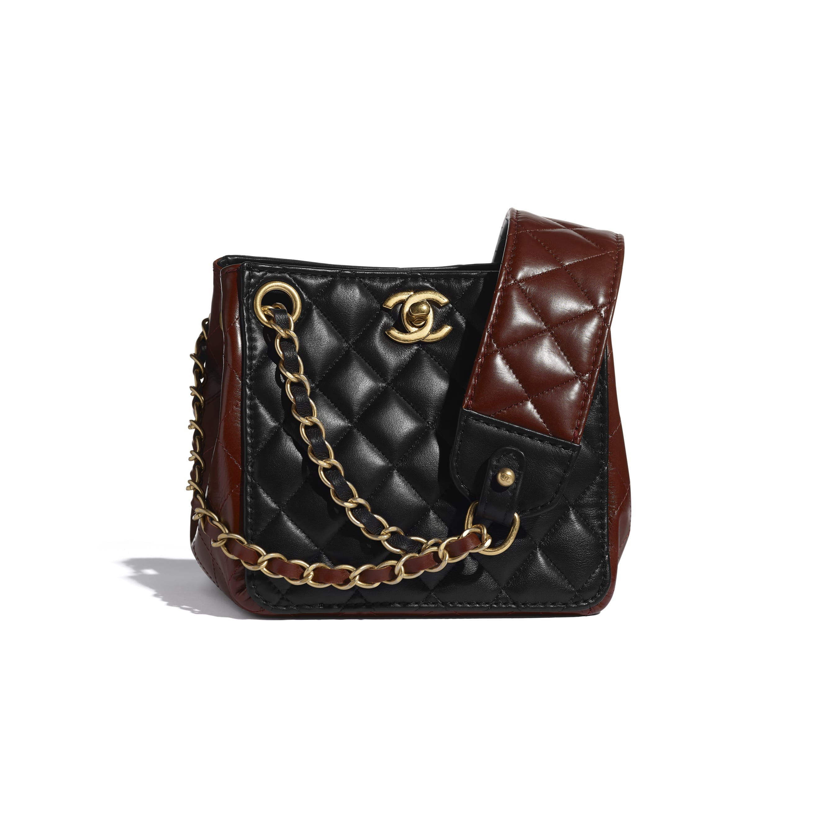 Bucket Bag - Black & Brown - Calfskin & Gold-Tone Metal - CHANEL - Default view - see standard sized version