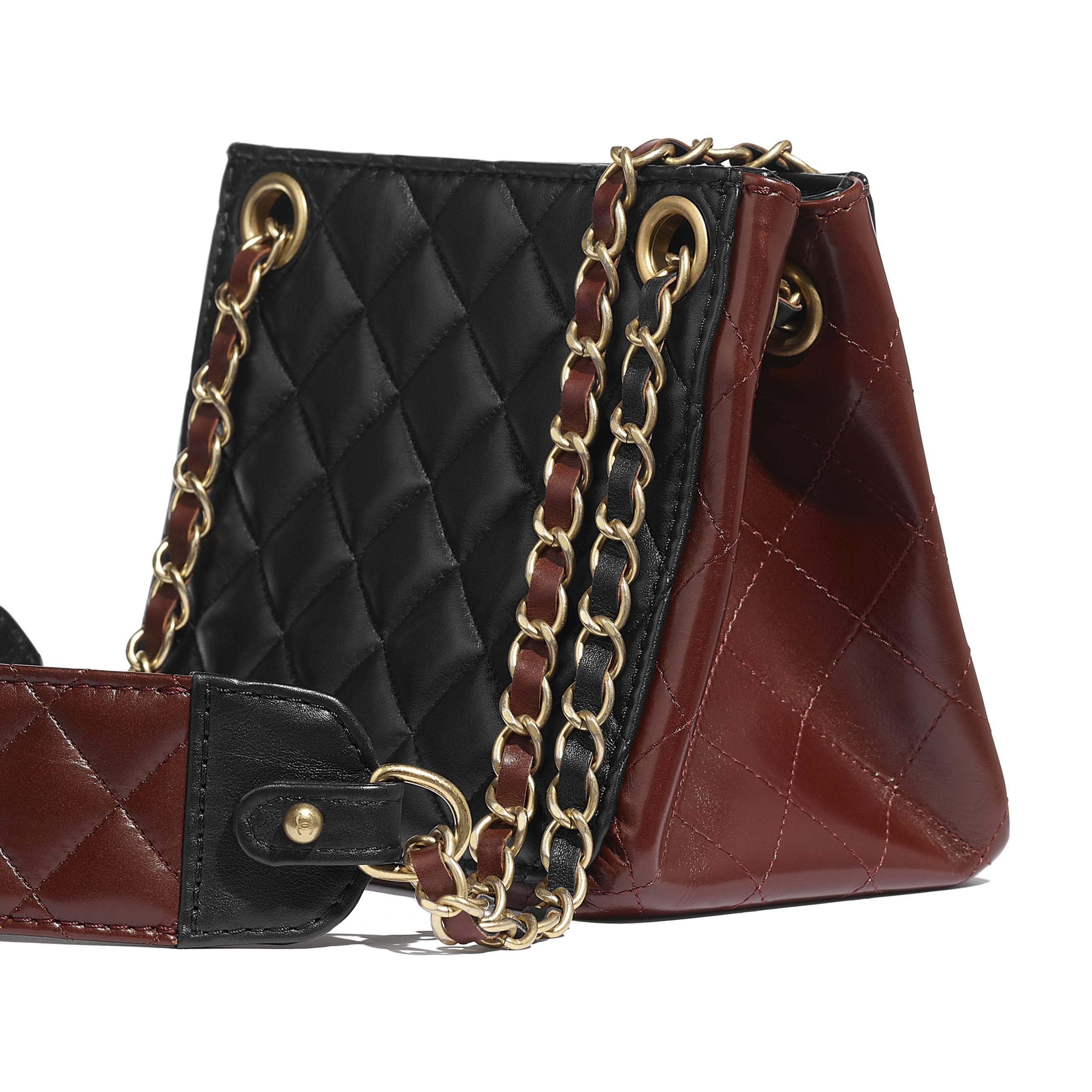 Bucket Bag - Black & Brown - Calfskin & Gold-Tone Metal - CHANEL - Extra view - see standard sized version