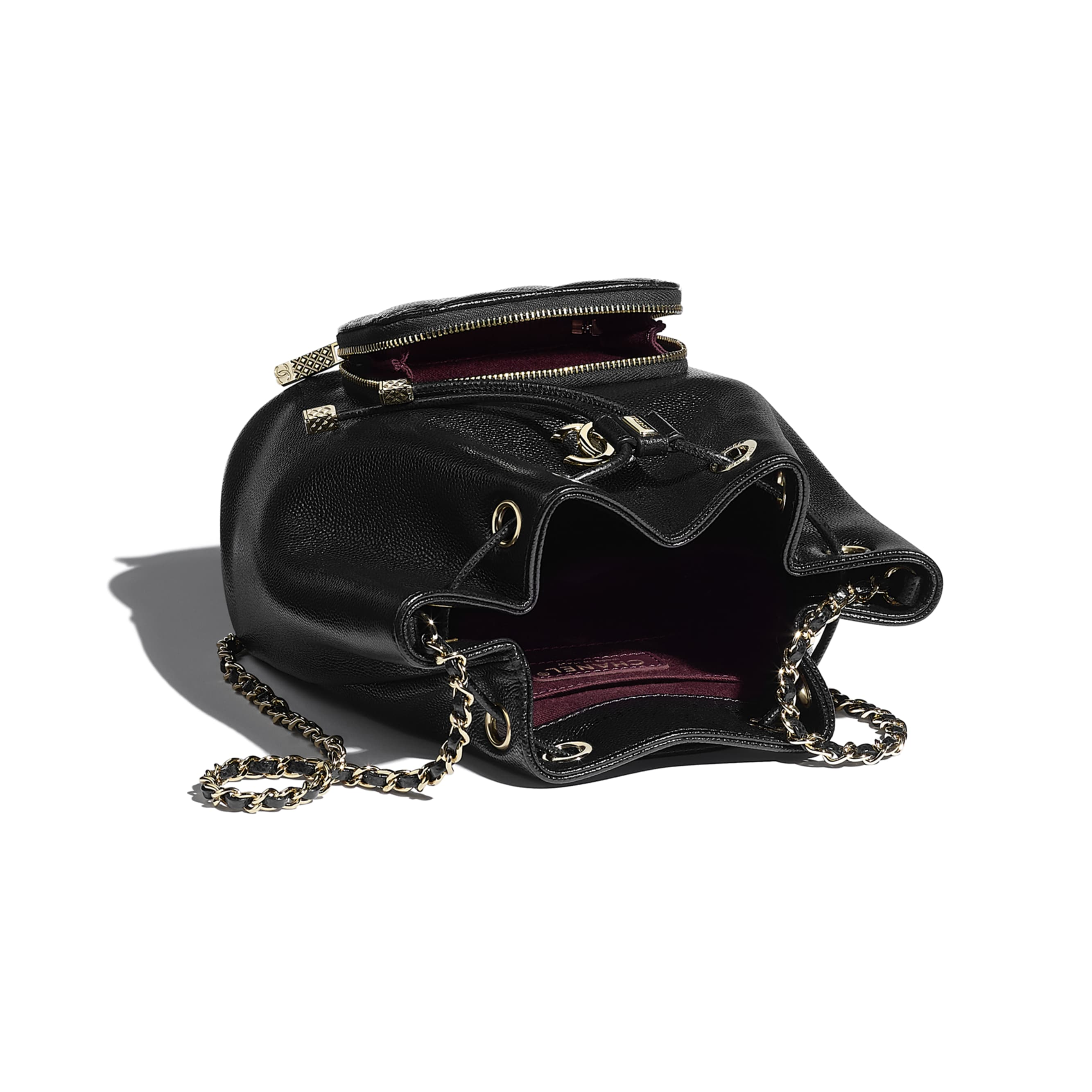 Bucket Bag - Black - Grained Calfskin & Gold-Tone Metal - CHANEL - Other view - see standard sized version