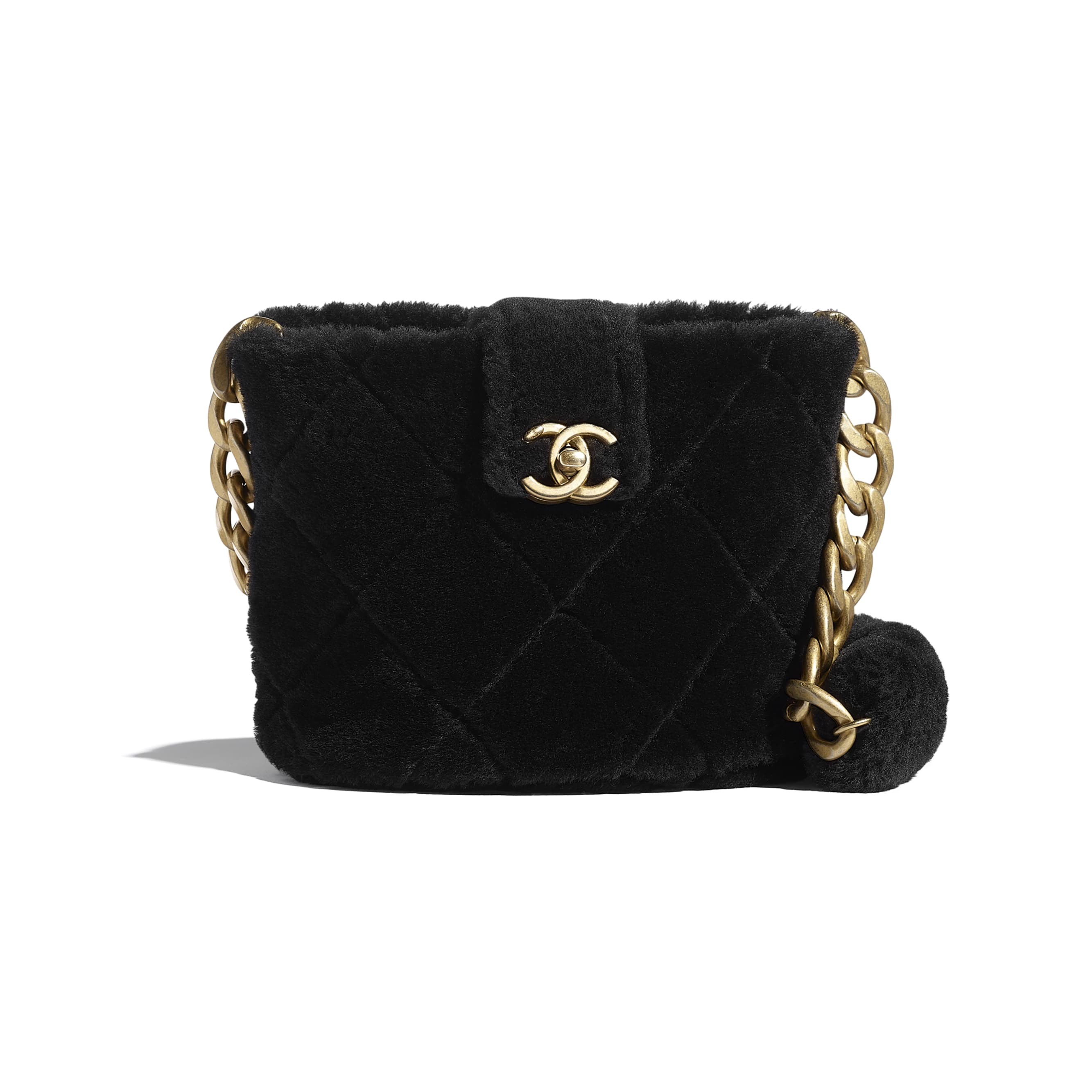 Bucket Bag - Black - Shearling Lambskin & Gold-Tone Metal - CHANEL - Default view - see standard sized version