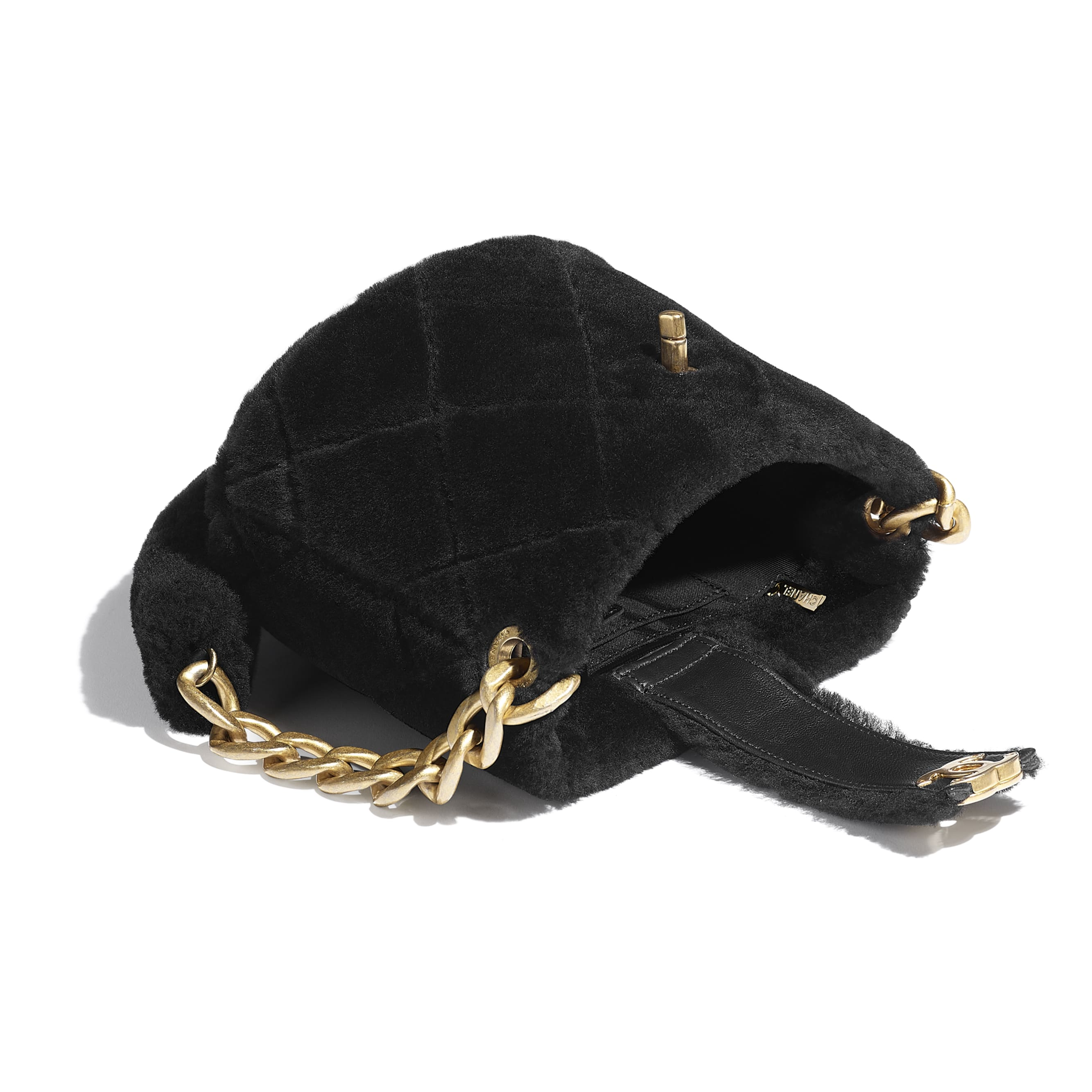 Bucket Bag - Black - Shearling Lambskin & Gold-Tone Metal - CHANEL - Other view - see standard sized version