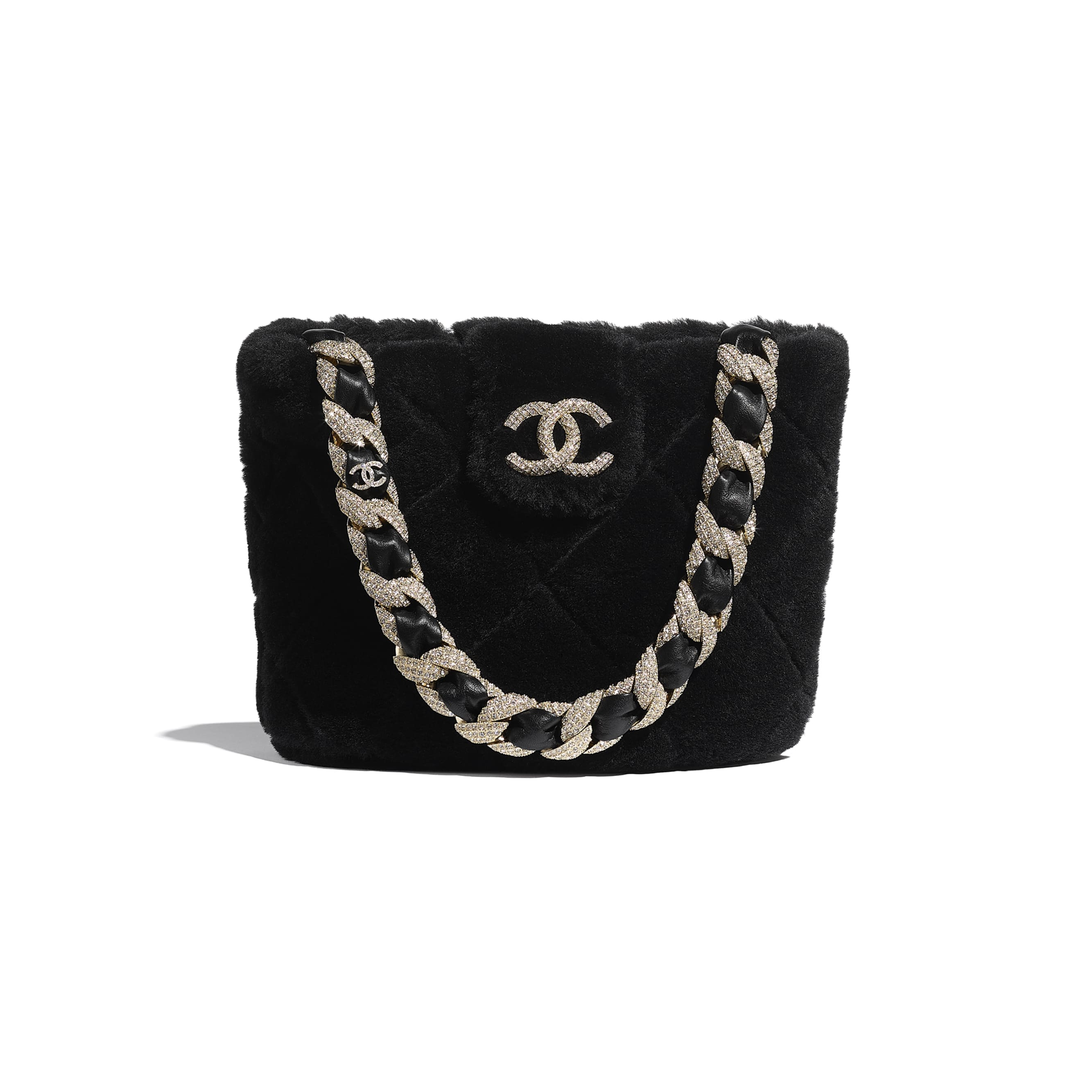 Bucket Bag - Black - Shearling Lambskin, Strass & Gold-Tone Metal - CHANEL - Default view - see standard sized version