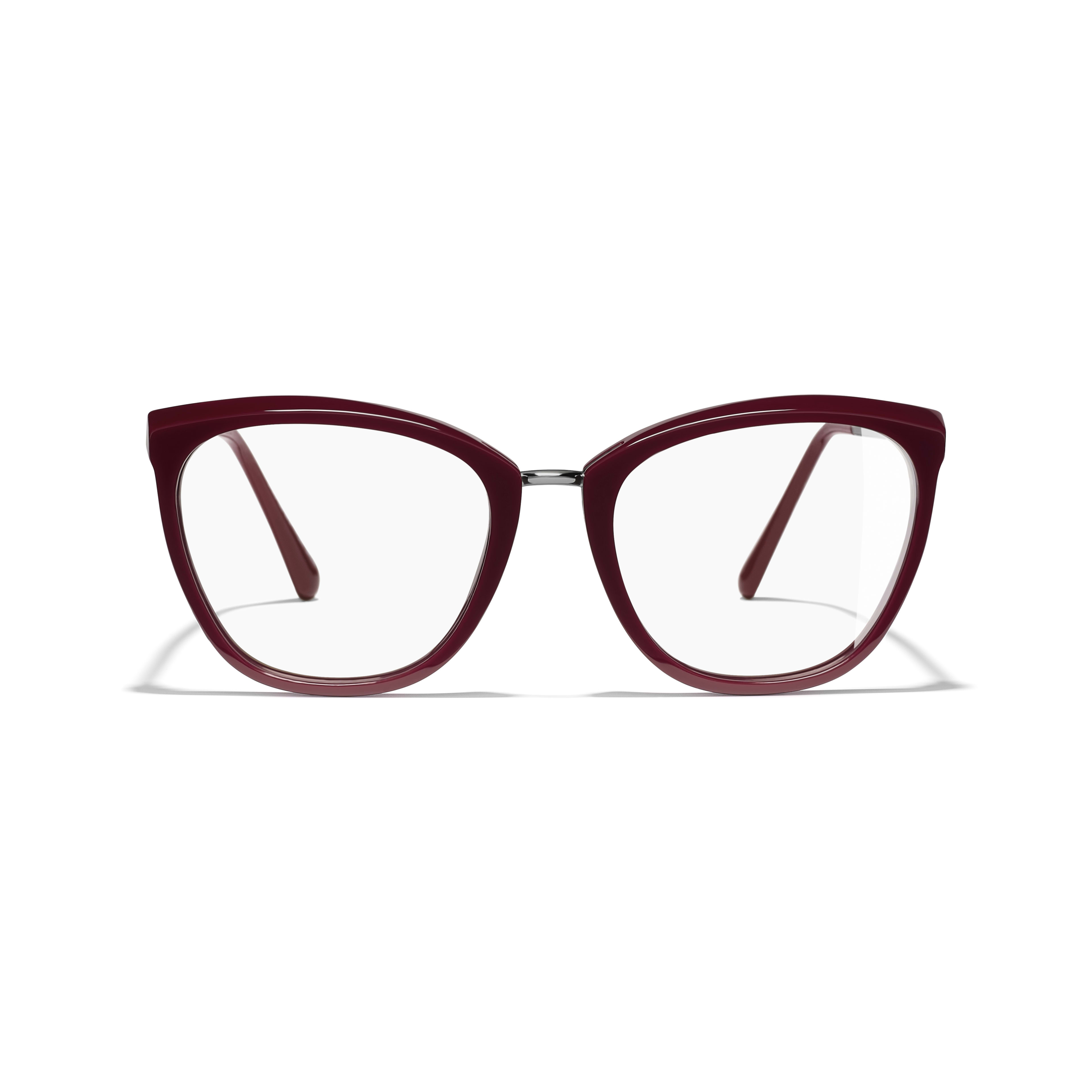 Butterfly Eyeglasses - Dark Red - Acetate & Metal - Alternative view - see standard sized version