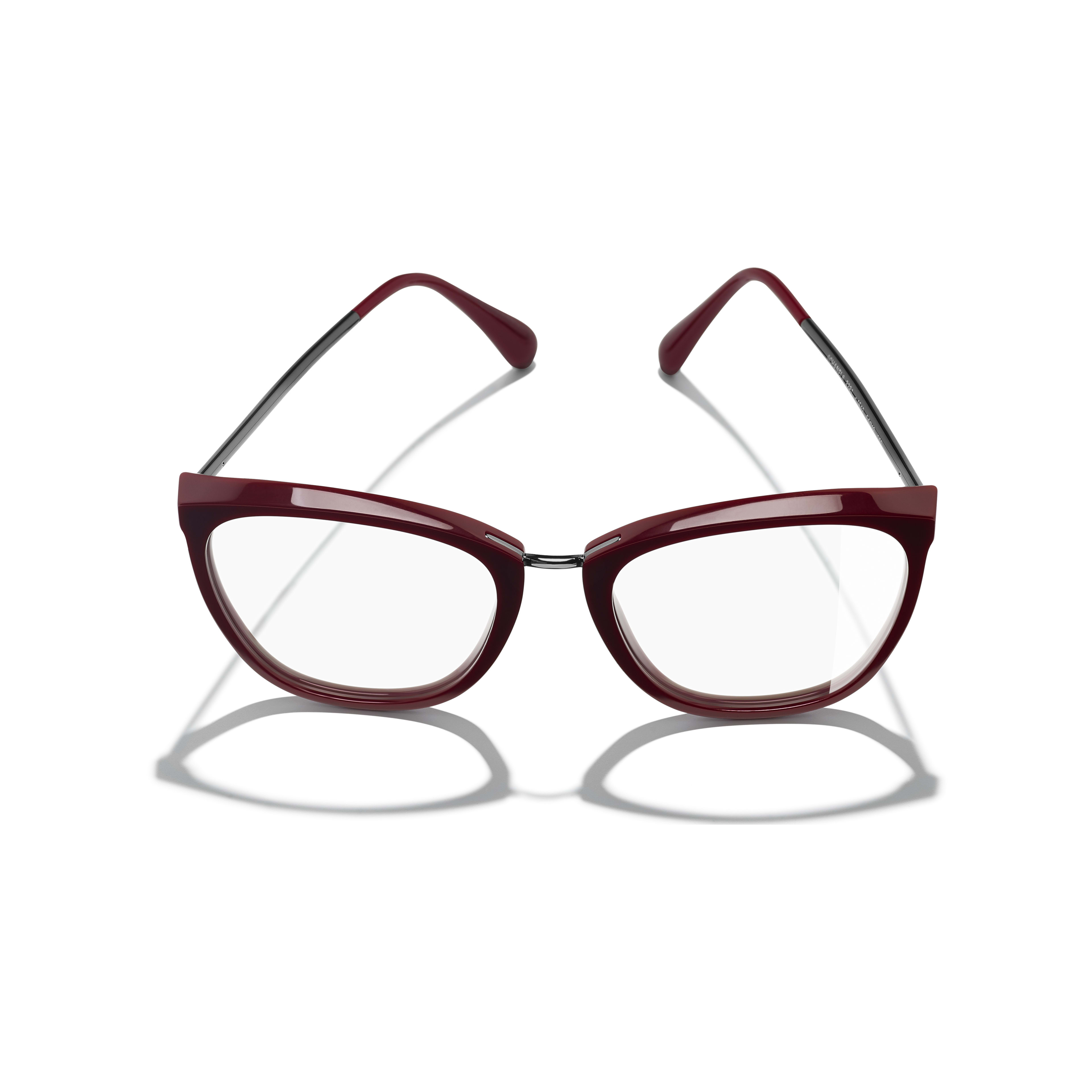 Butterfly Eyeglasses - Dark Red - Acetate & Metal - Extra view - see standard sized version