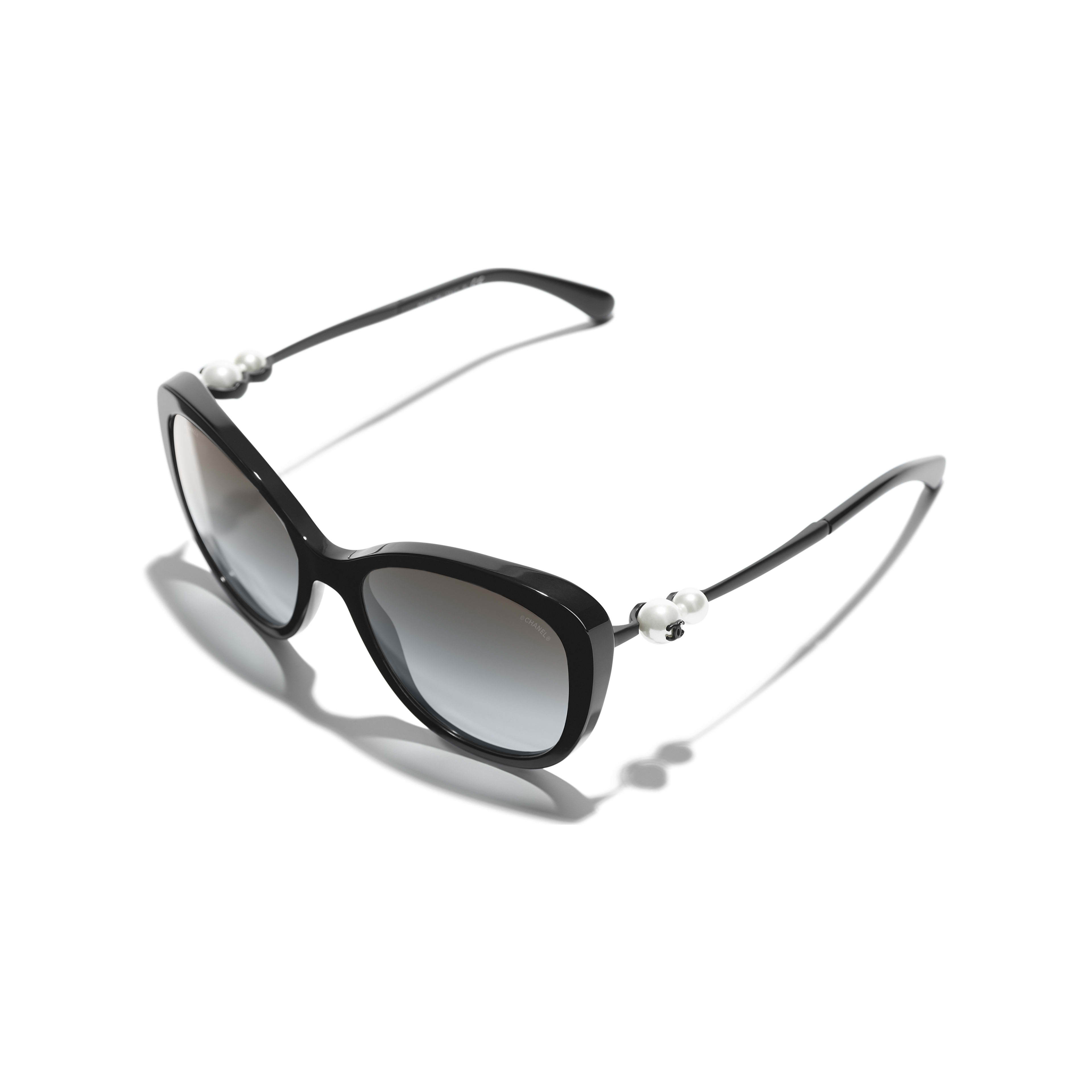 Butterfly Sunglasses - Black - Acetate & Imitation Pearls - CHANEL - Extra view - see standard sized version