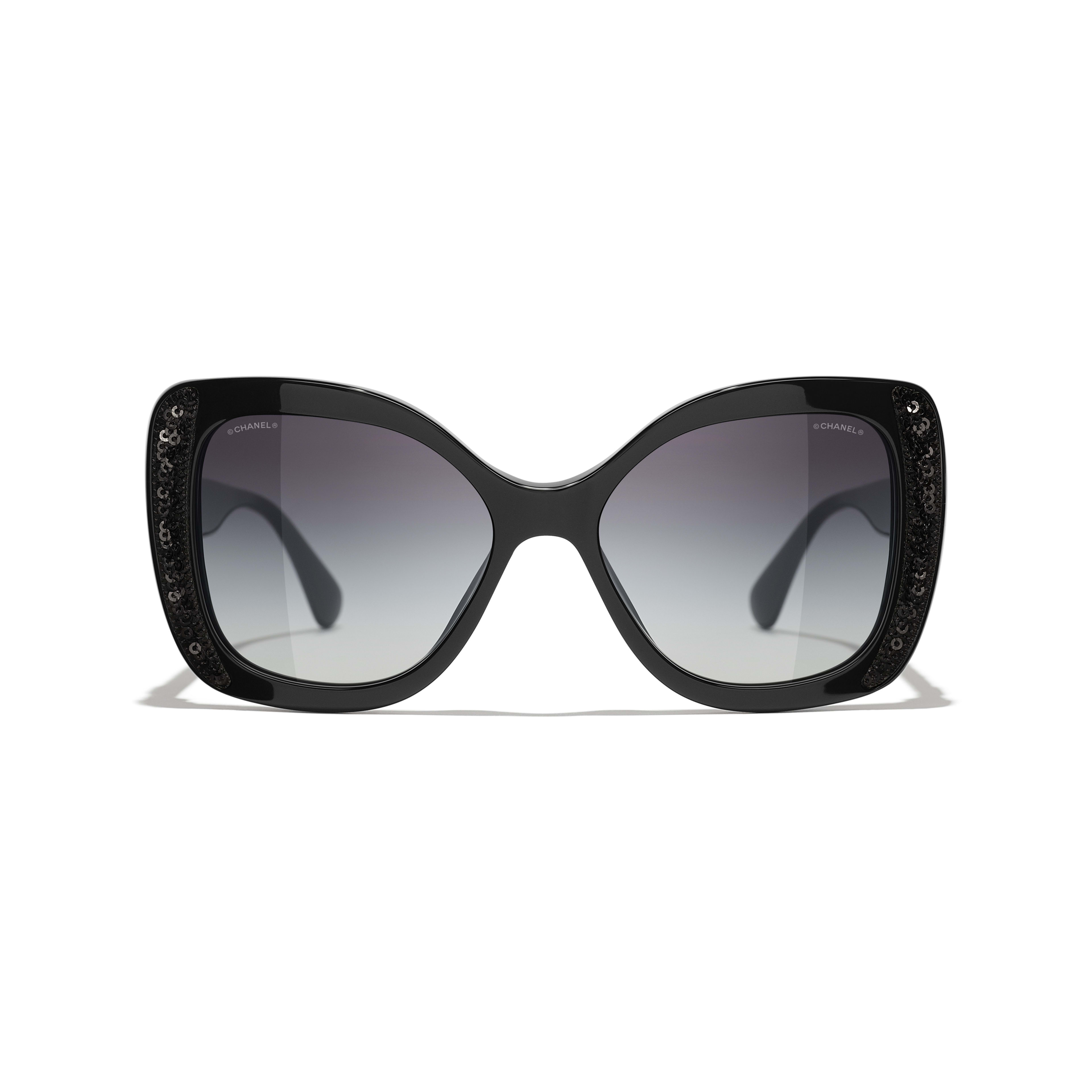 Butterfly Sunglasses - Black - Acetate & Sequins - CHANEL - Alternative view - see standard sized version