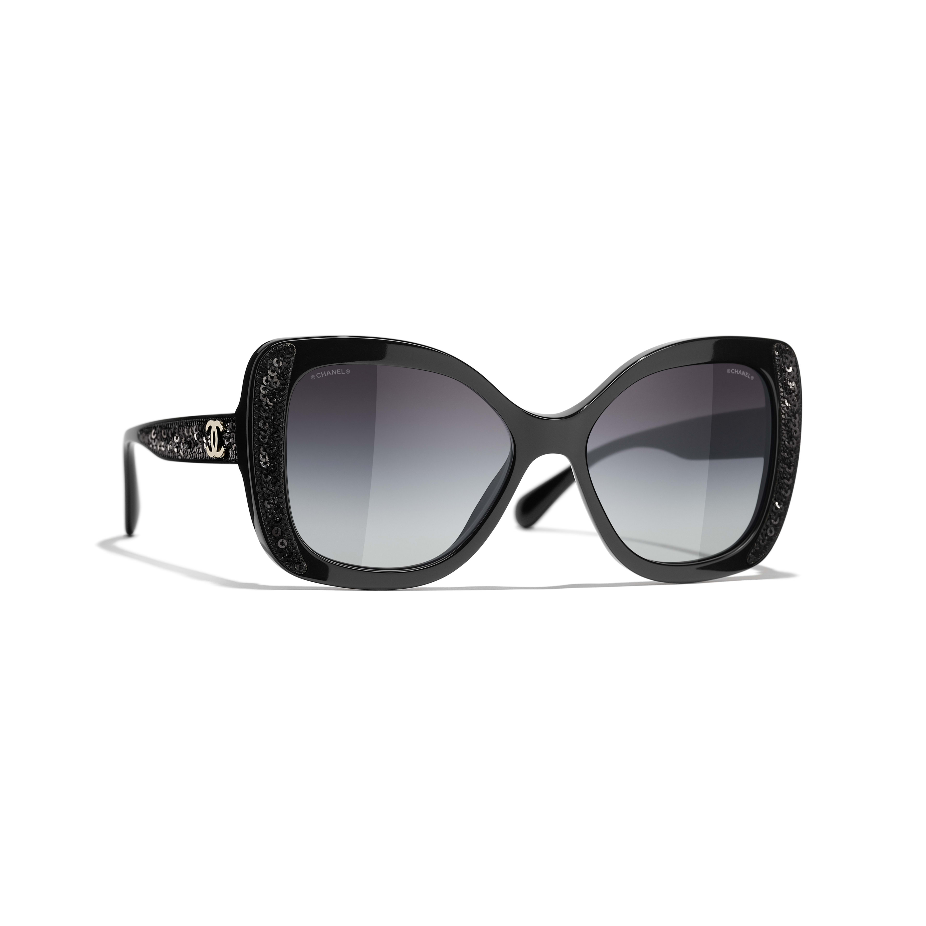 Butterfly Sunglasses - Black - Acetate & Sequins - CHANEL - Default view - see standard sized version