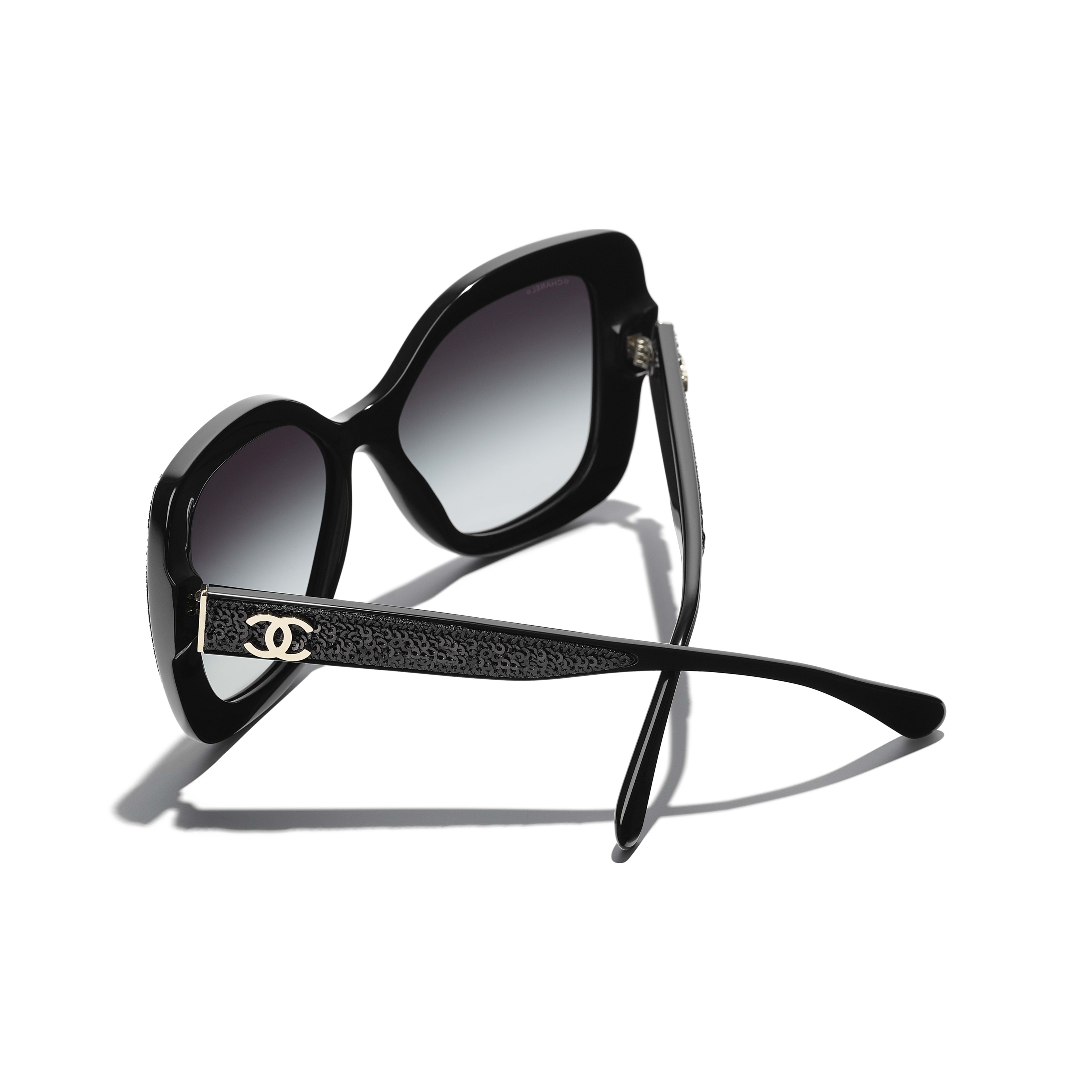 Butterfly Sunglasses - Black - Acetate & Sequins - CHANEL - Extra view - see standard sized version