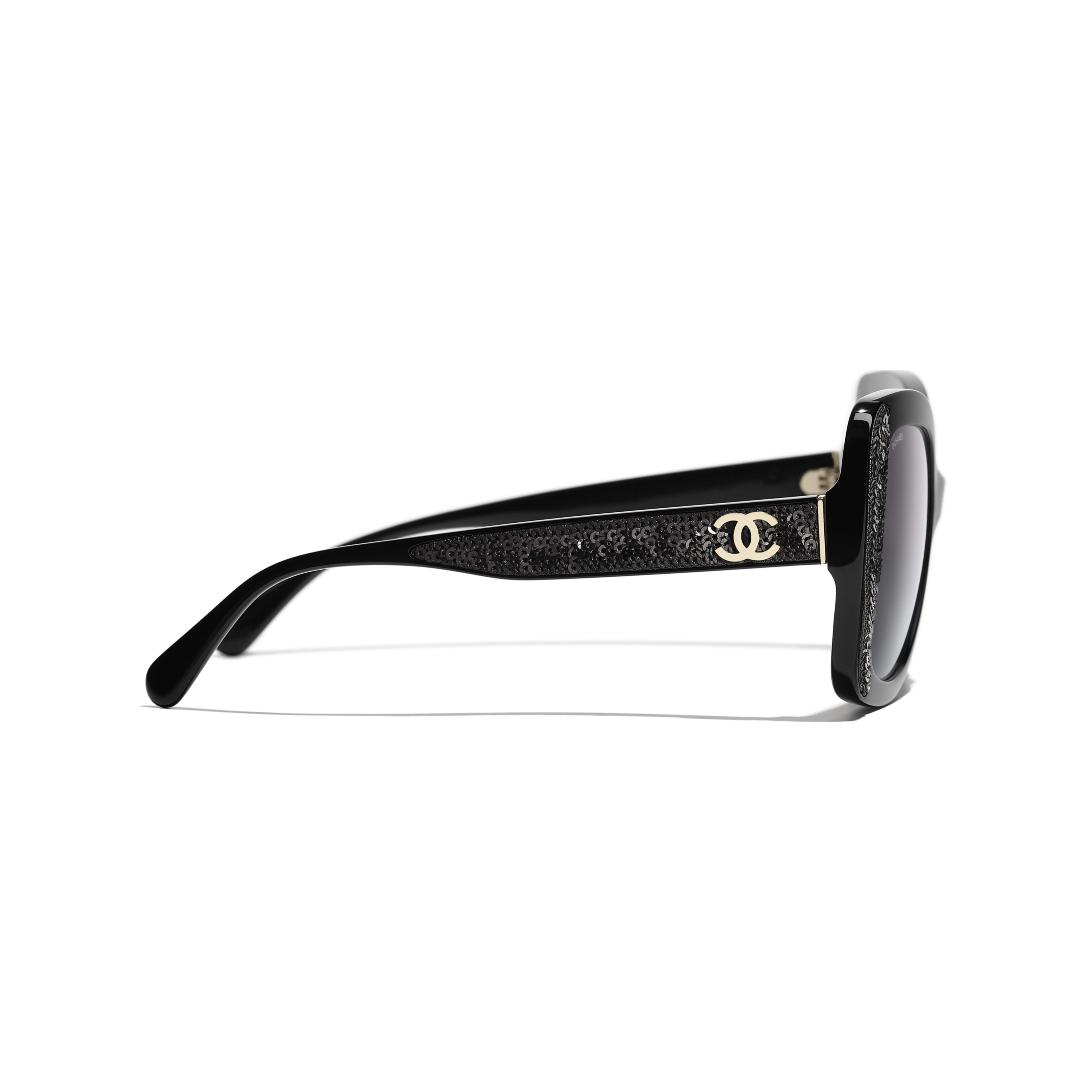 Butterfly Sunglasses - Black - Acetate & Sequins - CHANEL - Other view - see standard sized version