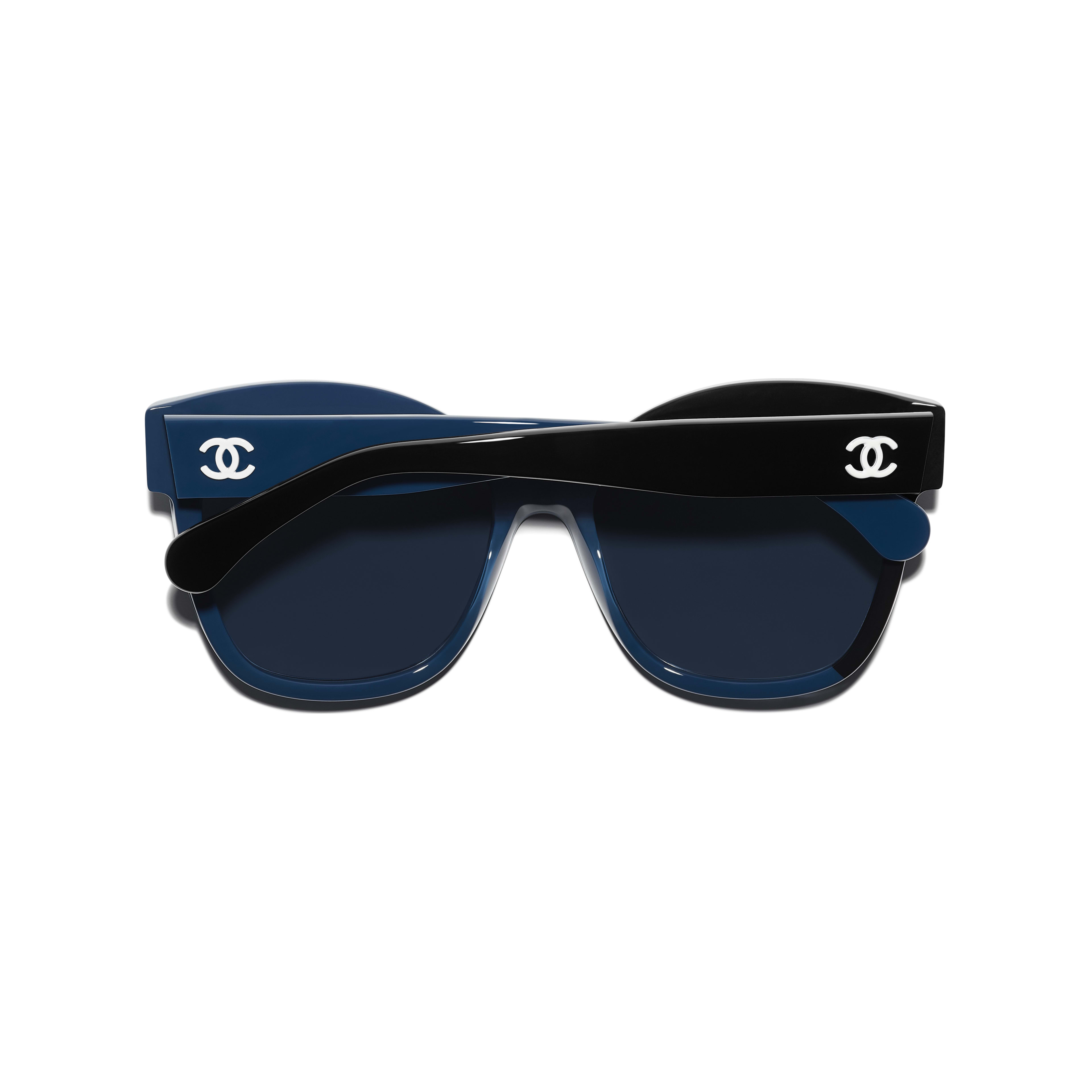 Butterfly Sunglasses - Black & Blue - Acetate - CHANEL - Extra view - see standard sized version