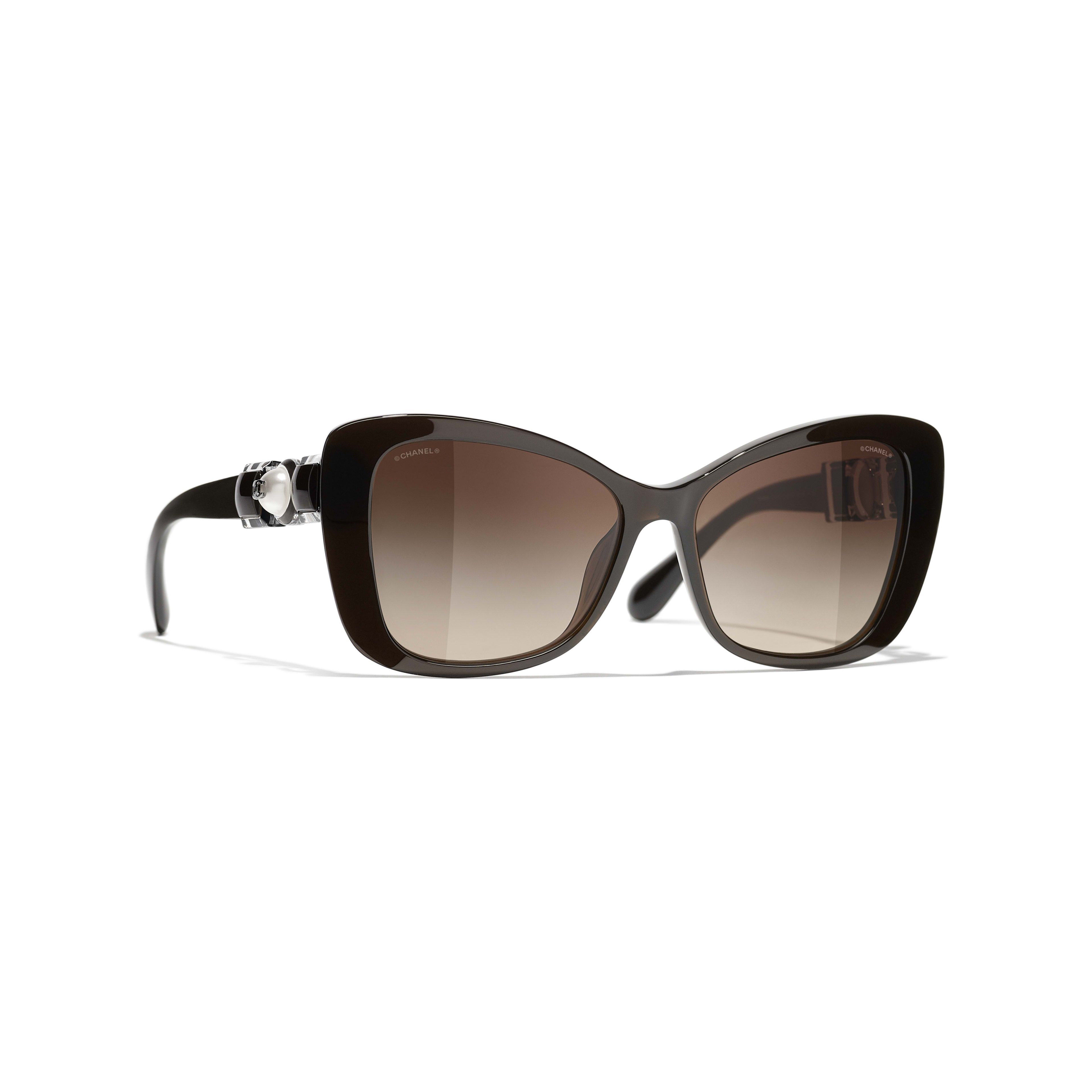 Butterfly Sunglasses - Brown - Acetate & Glass Pearls - CHANEL - Default view - see standard sized version