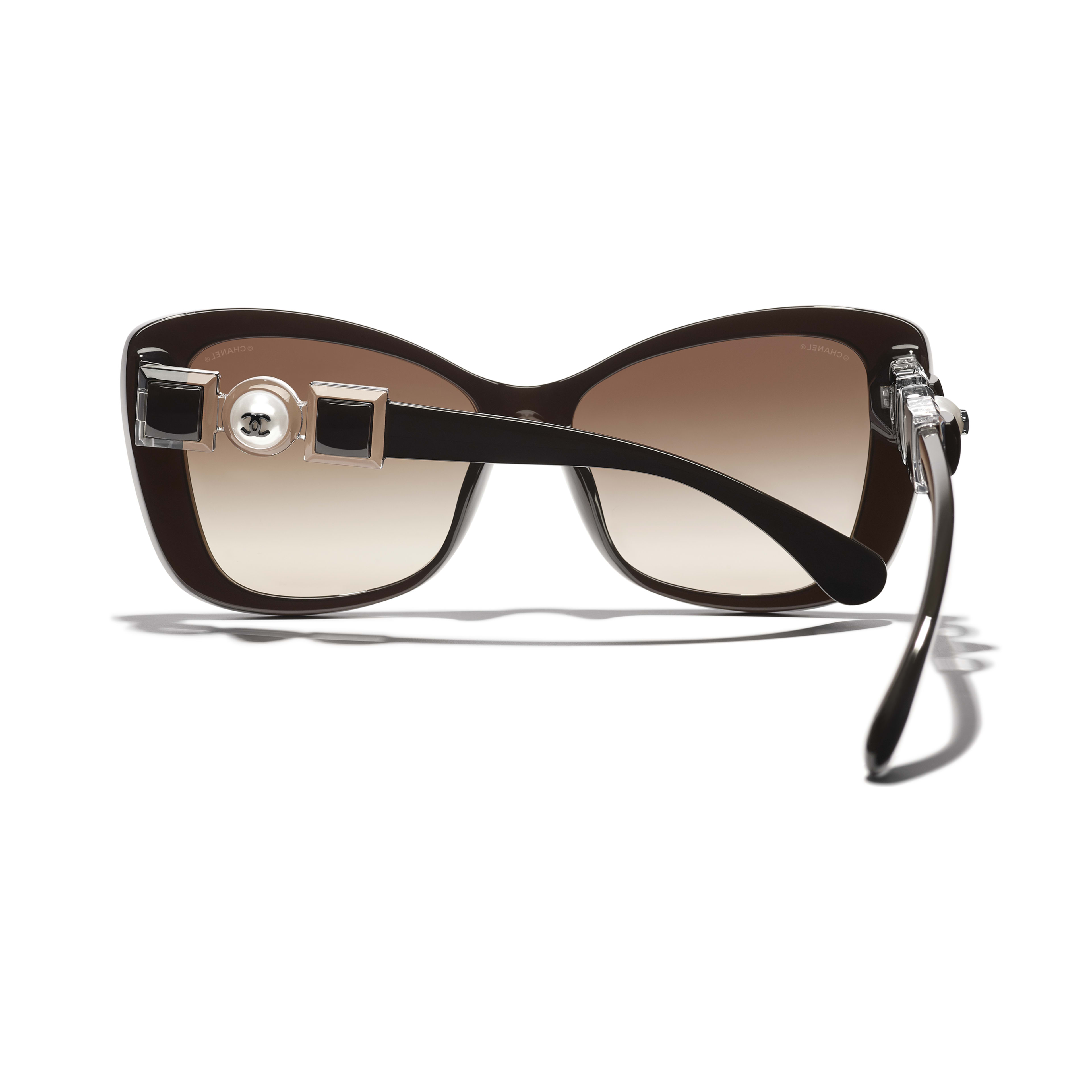 Butterfly Sunglasses - Brown - Acetate & Glass Pearls - CHANEL - Extra view - see standard sized version