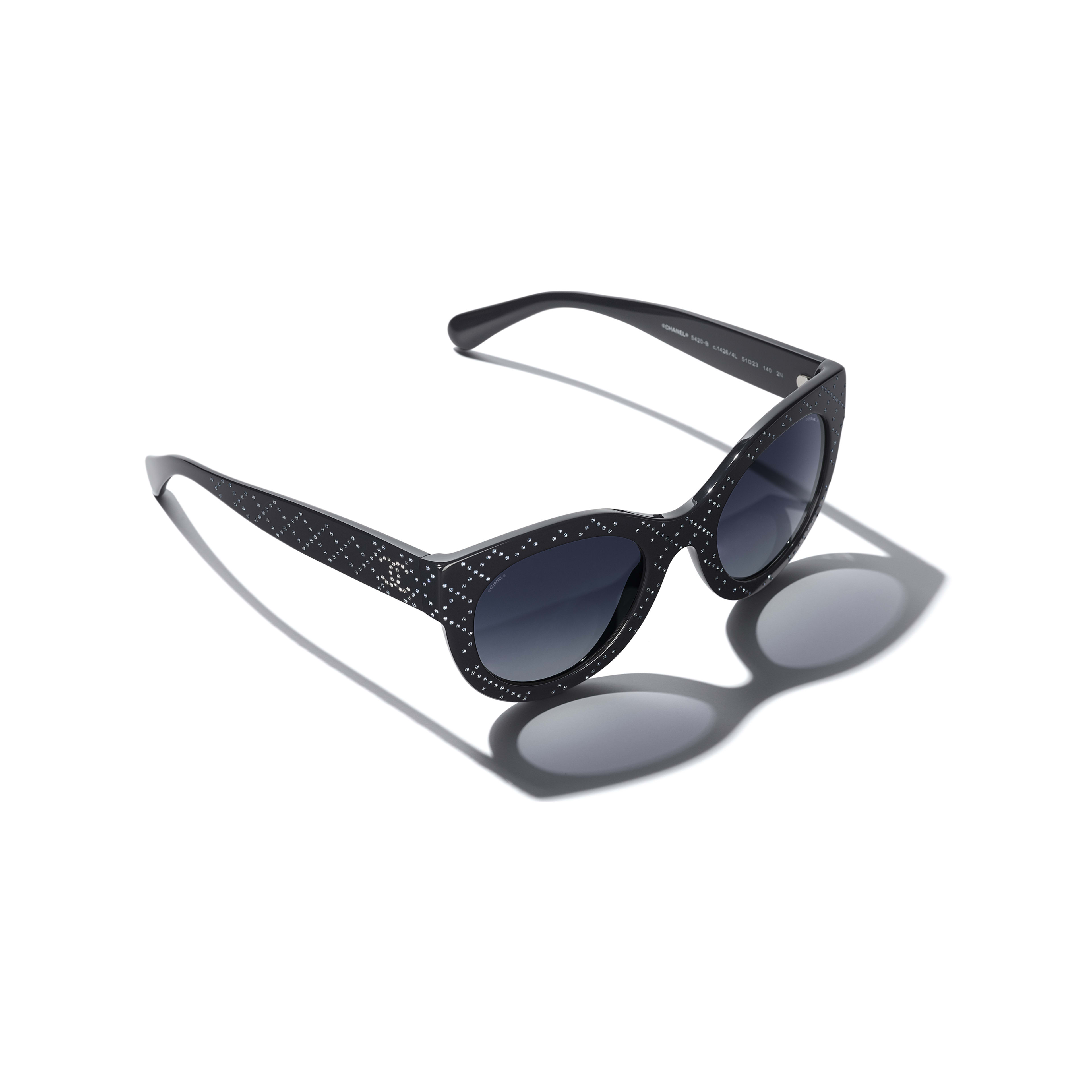Butterfly Sunglasses - Dark Blue - Acetate & Strass - Extra view - see standard sized version