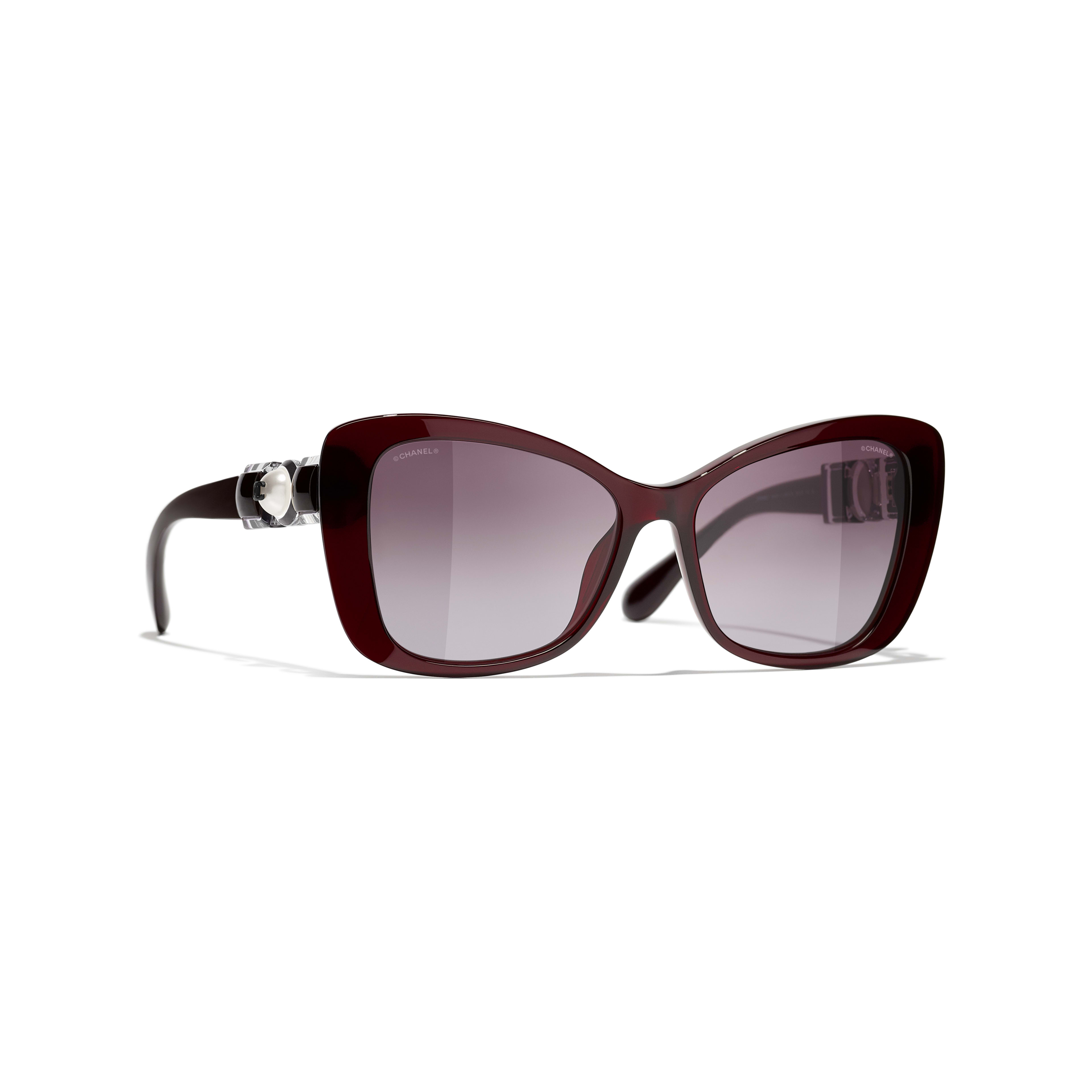 Butterfly Sunglasses - Dark Red - Acetate & Glass Pearls - CHANEL - Default view - see standard sized version